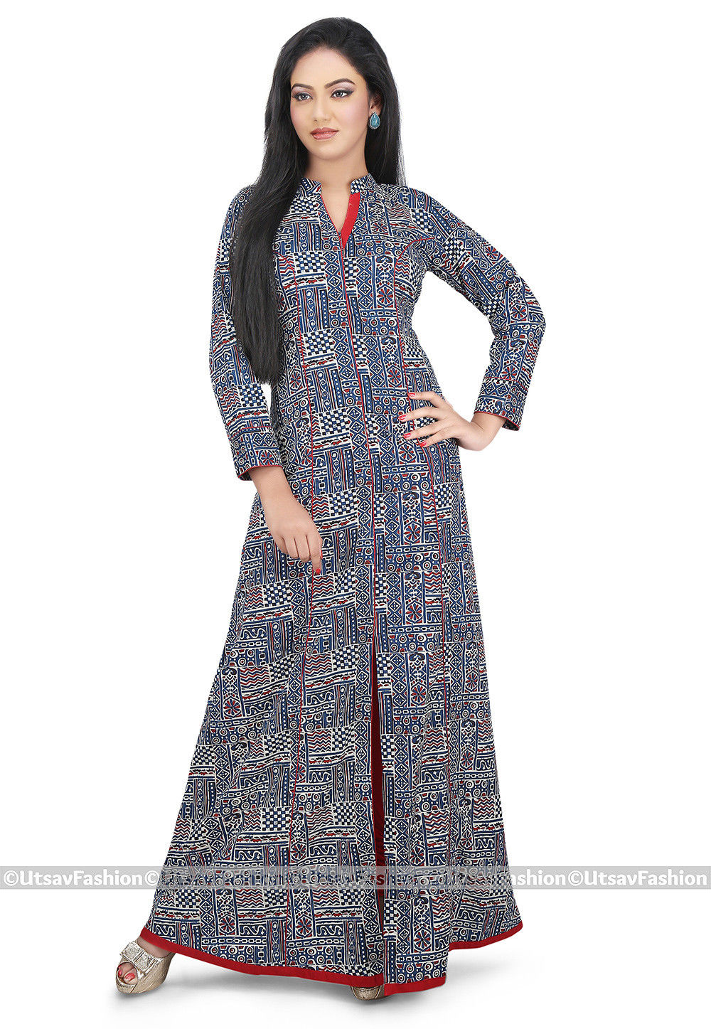 Printed Cotton Long Kurta in Indigo