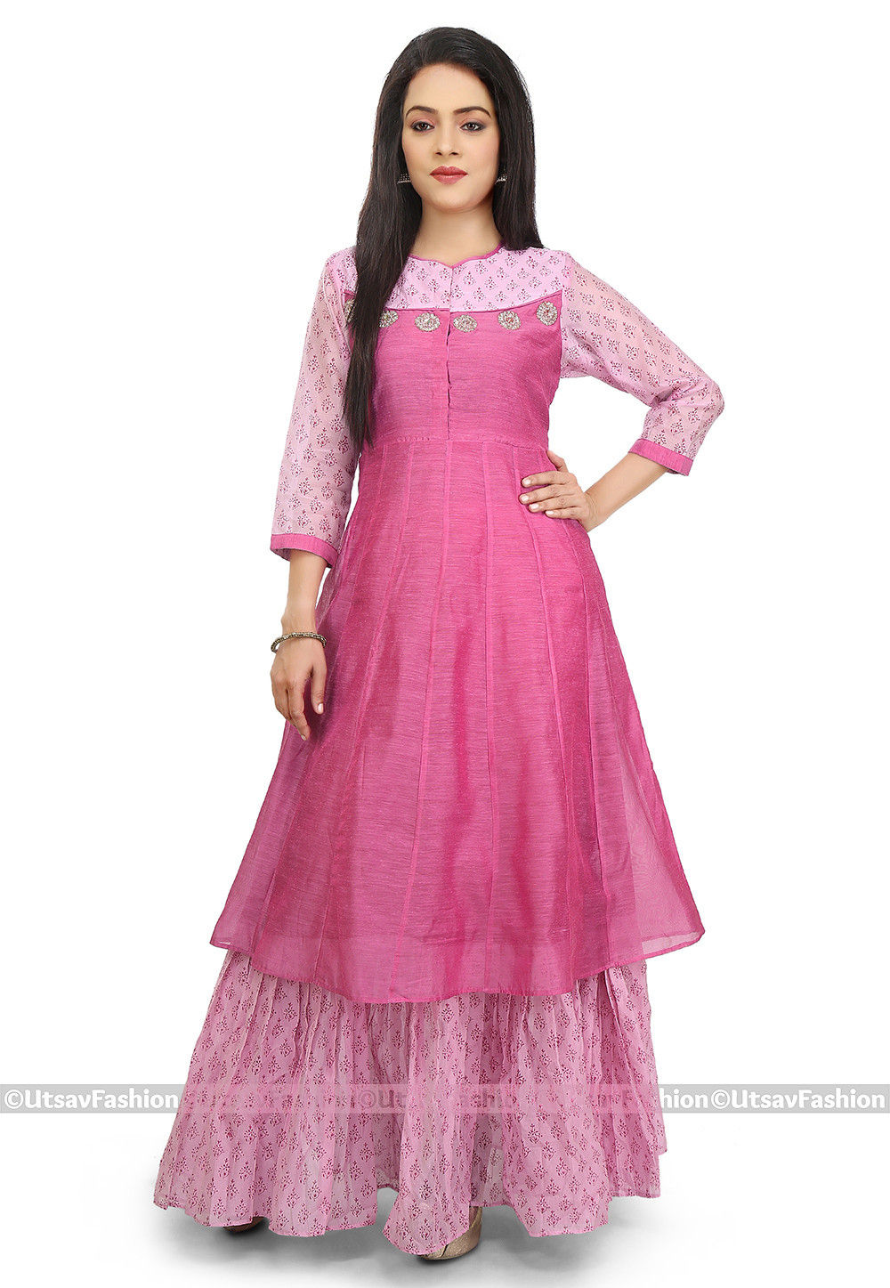 Block Printed Chanderi Cotton Long Layered Kurta in Pink