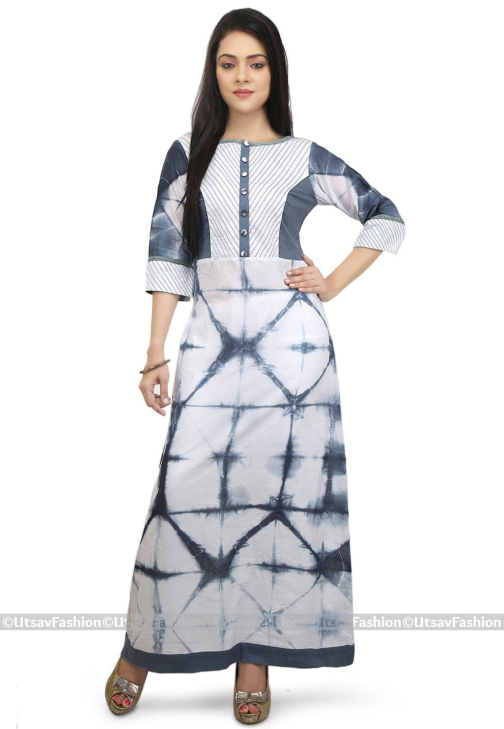 Tie Dye Cotton Long Kurta in White and Grey