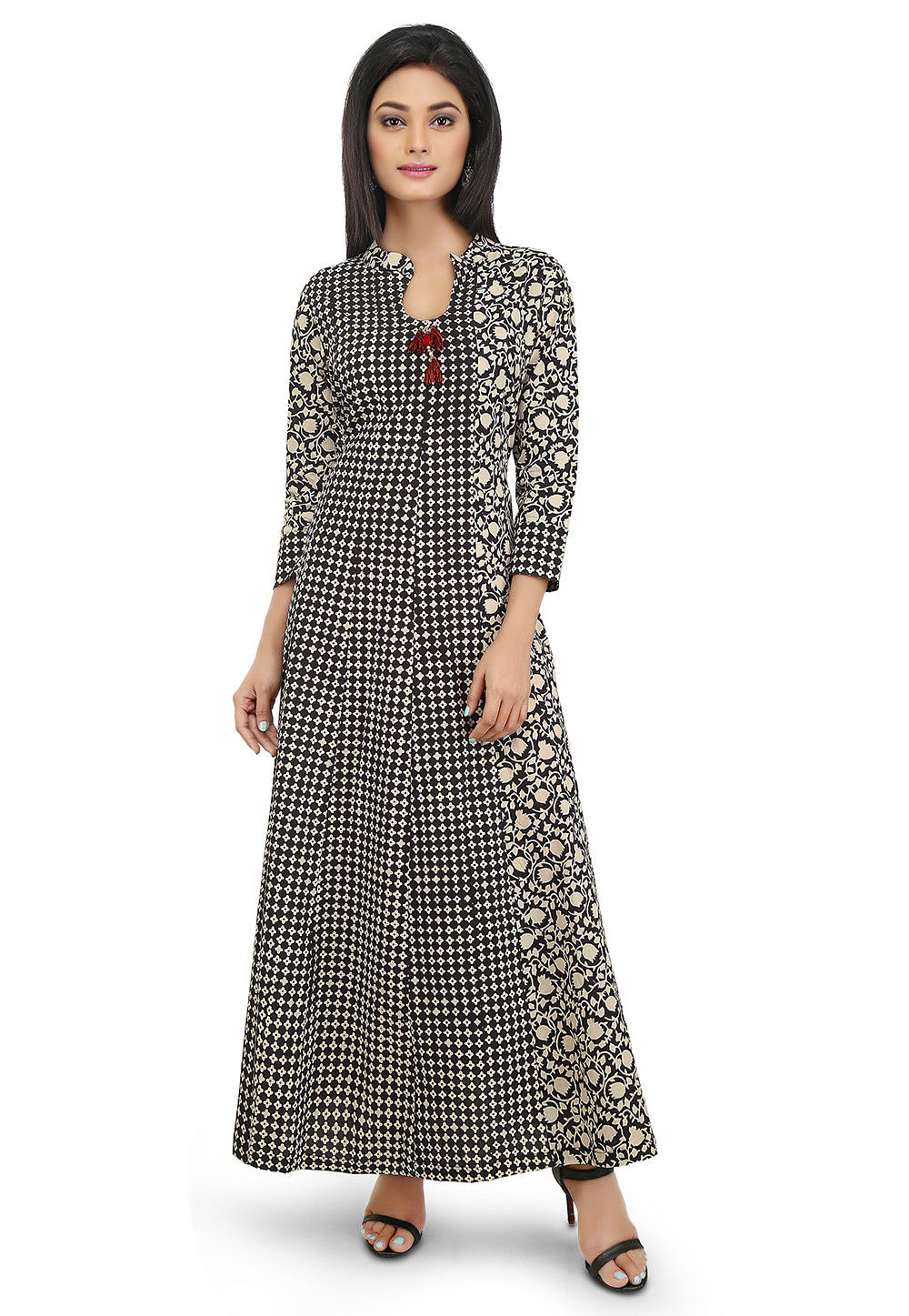 Block Printed Cotton Dress in Black and Beige