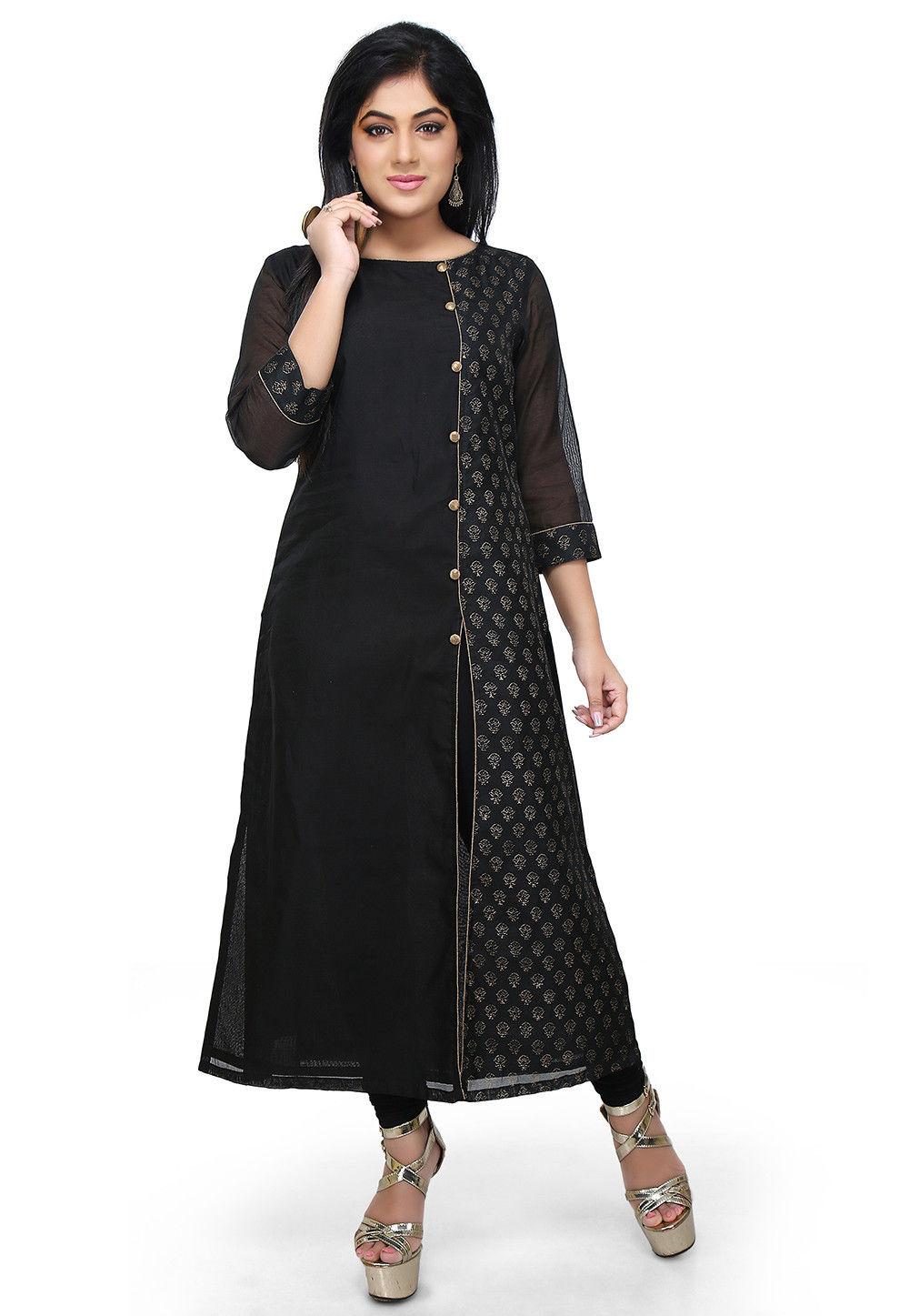 Block Printed Chanderi Cotton Straight Kurta in Black