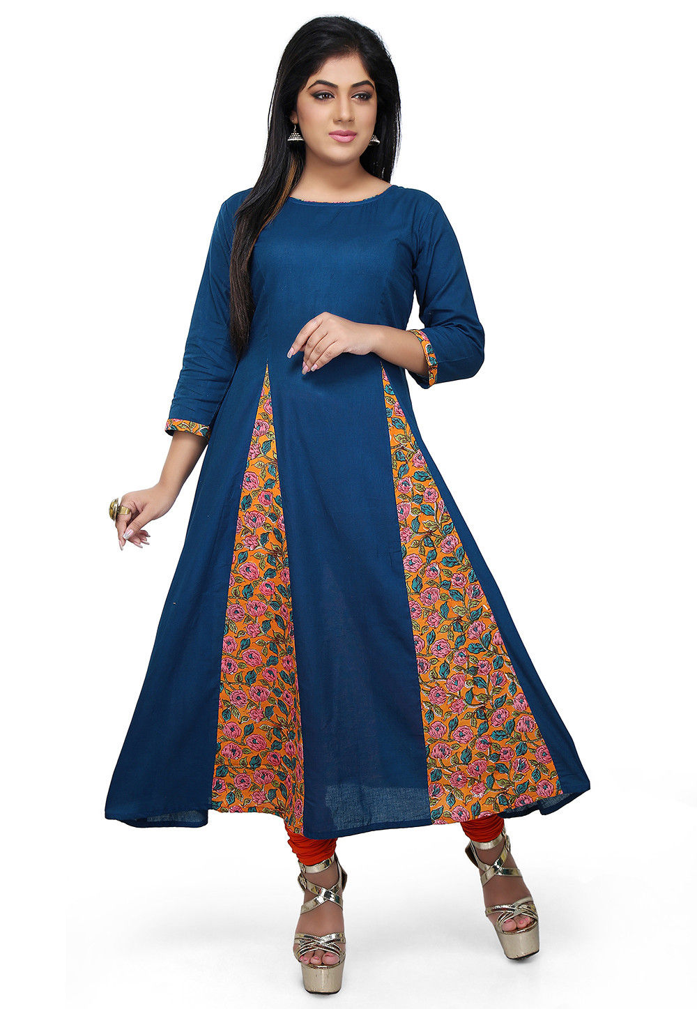 Block Printed Cotton Anarkali Kurta in Dark Blue