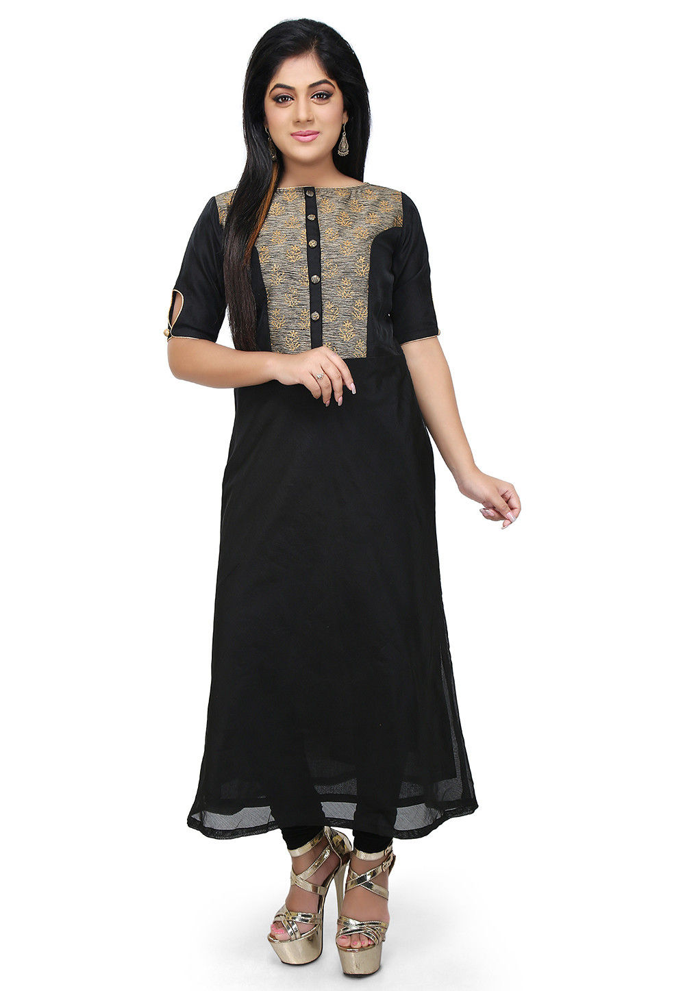 Block Printed Chanderi Cotton Straight Kurta in Black