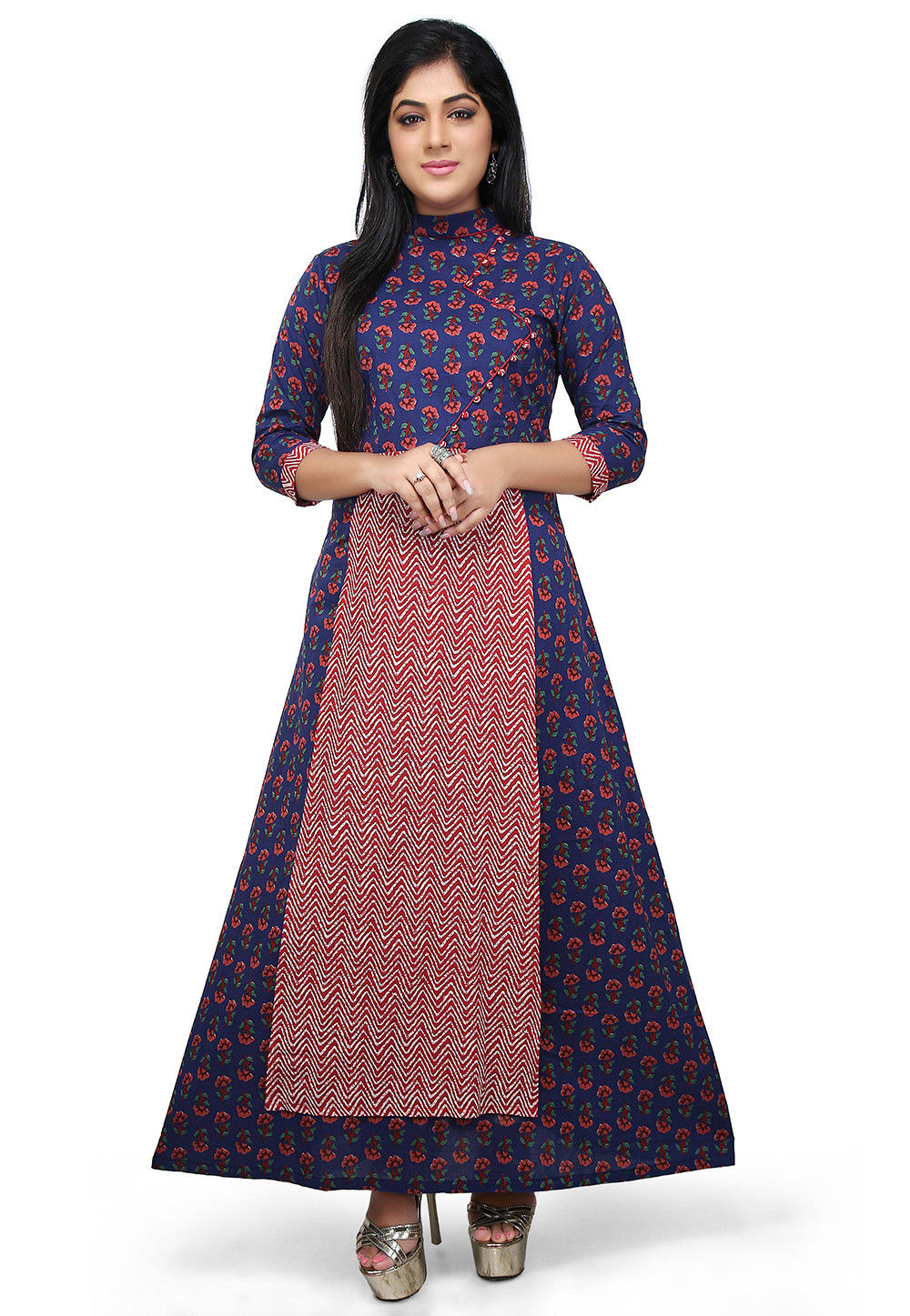 Block Printed Cotton Long Kurta in Blue and Red