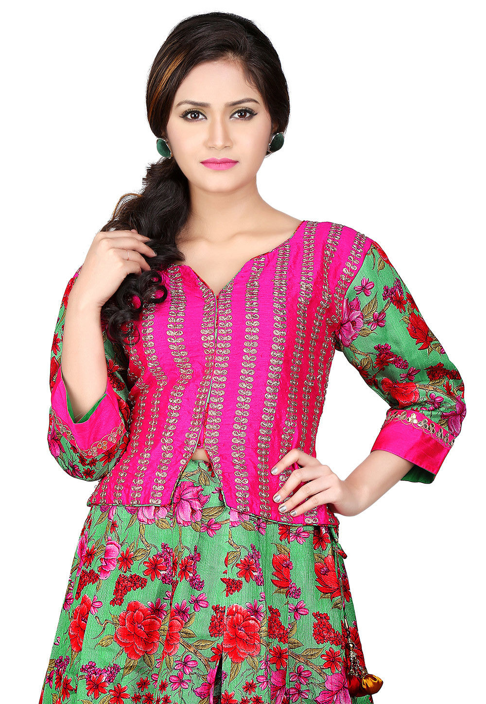 Embroidered Dupion Silk Crop Top in Fuchsia and Green