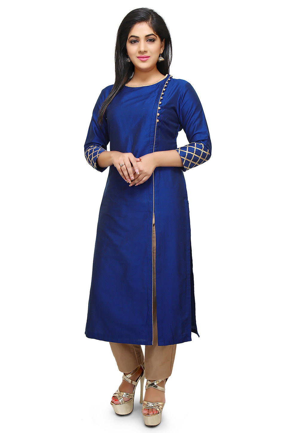 f03b5bf729 Plain Cotton Silk Side Slit Long Kurta in Royal Blue : TJW603
