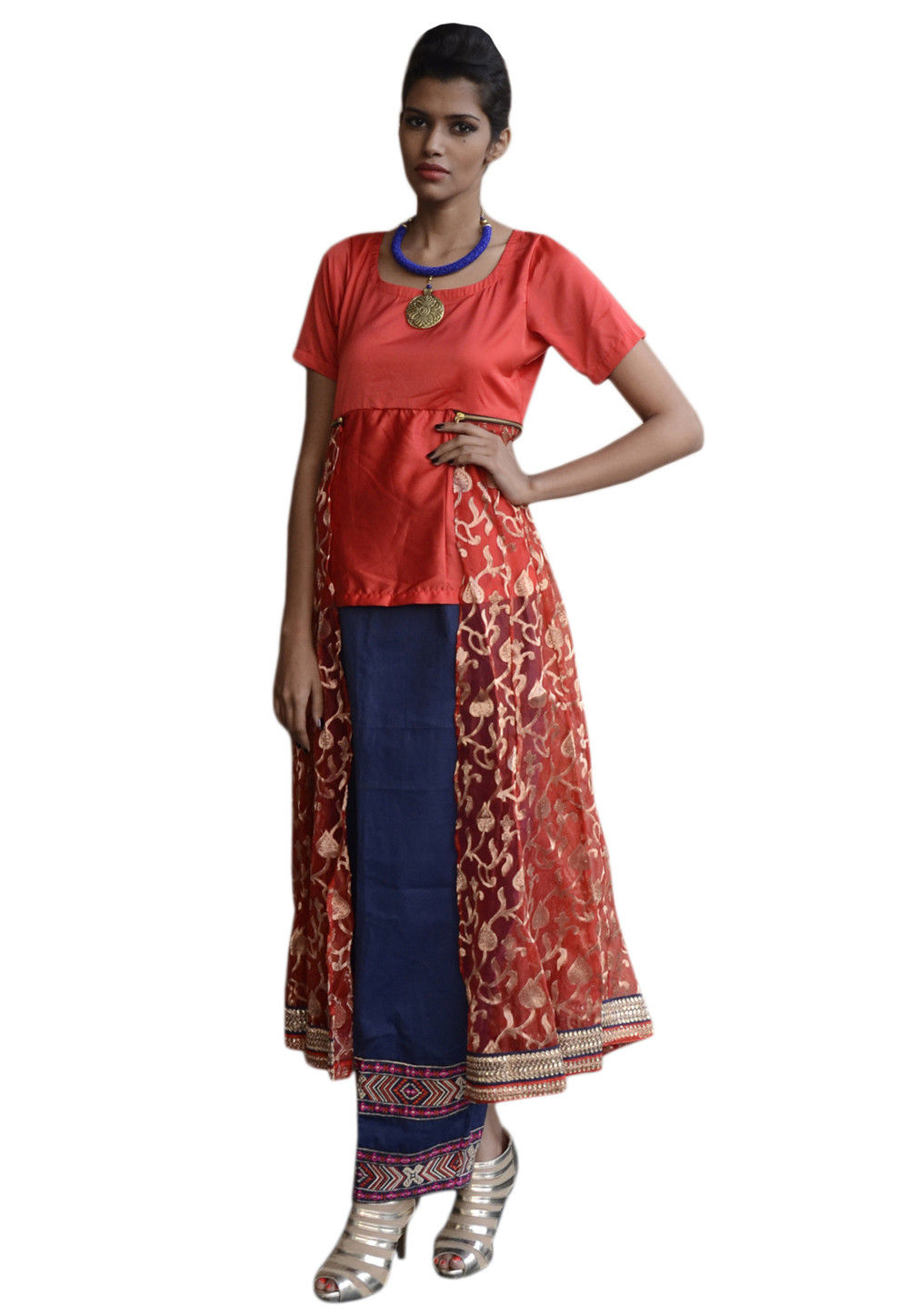 Embroidered Kali Tunic With Skirt In Coral