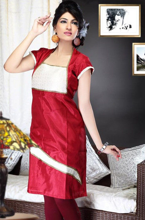 Embroidered Cotton Silk Kurta In Red