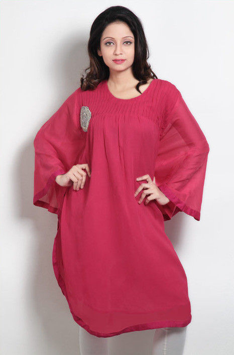 Embroidered Georgette Tunic In Fuchsia