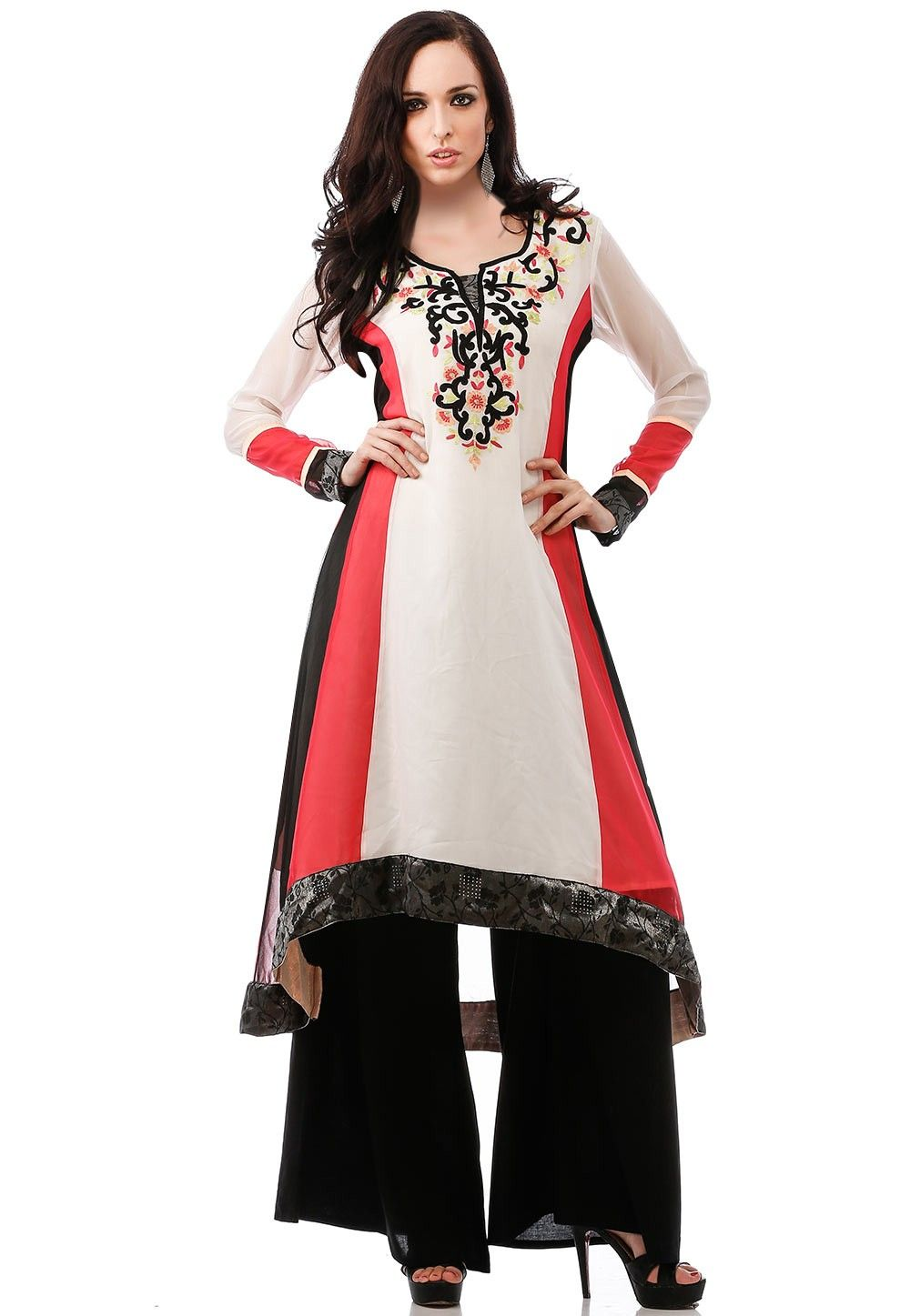 Embroidered Georgette Asymmetrical Long Kurta in White and Red