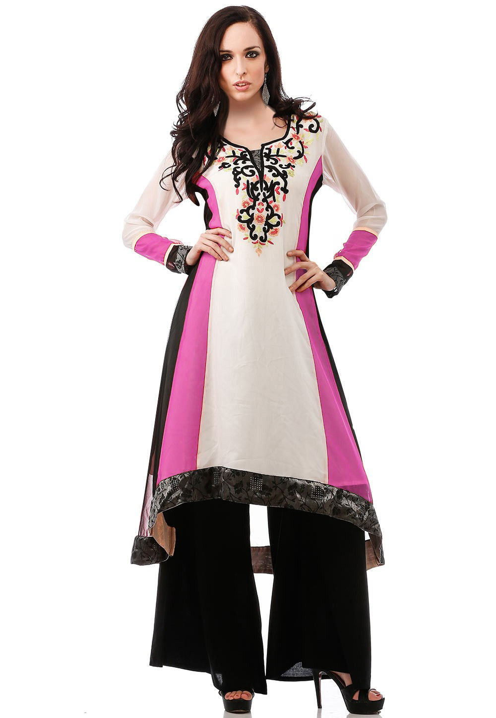 Embroidered Georgette Asymmetric Long Kurta in White and Pink