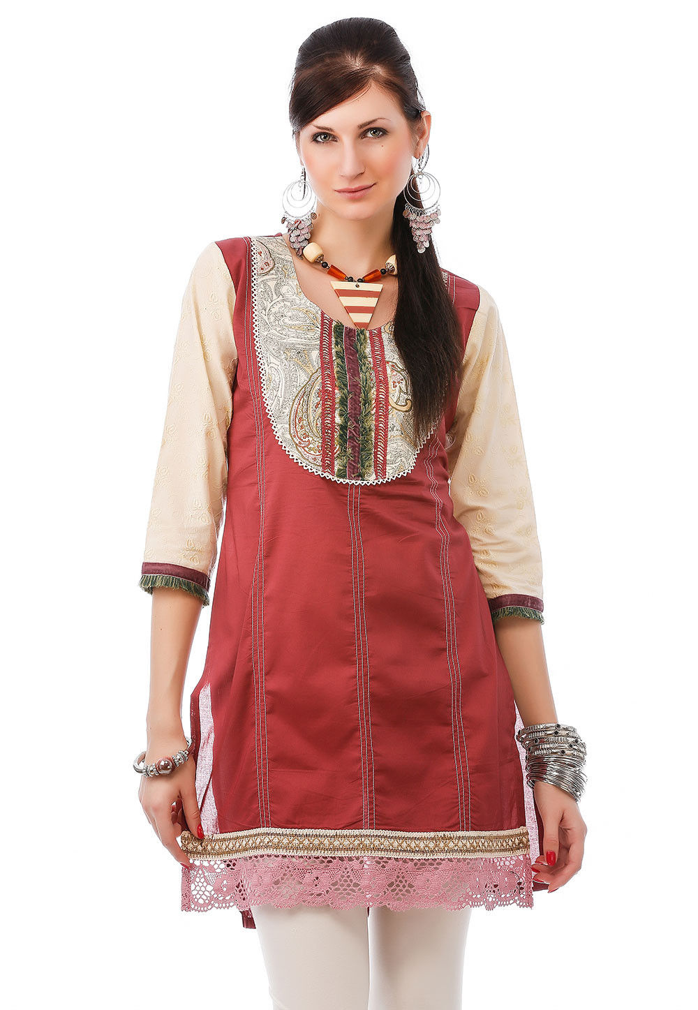 Embroidered Cotton Kurti In Red