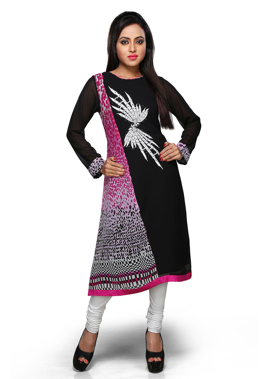 Embroidered Georgette Long Kurta In Black and Fuchsia