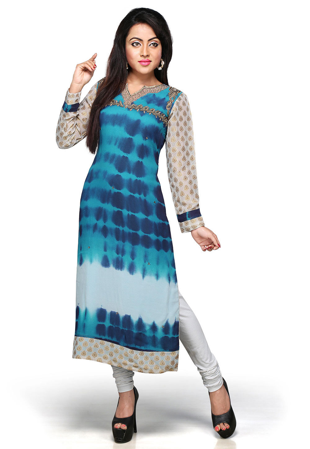 Embroidered Georgette Long Kurta In Blue