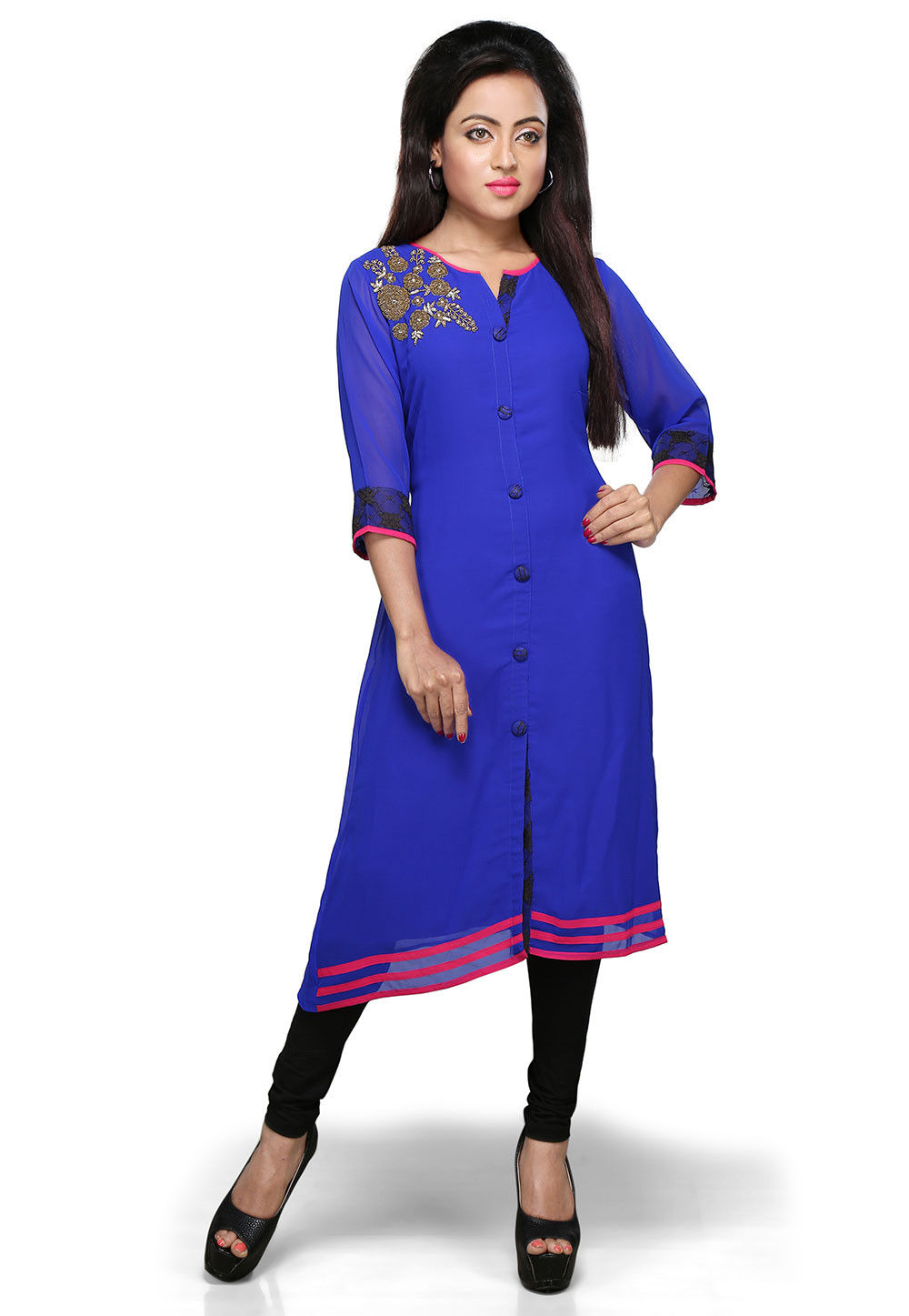 Embroidered Georgette Long Kurta In Royal Blue