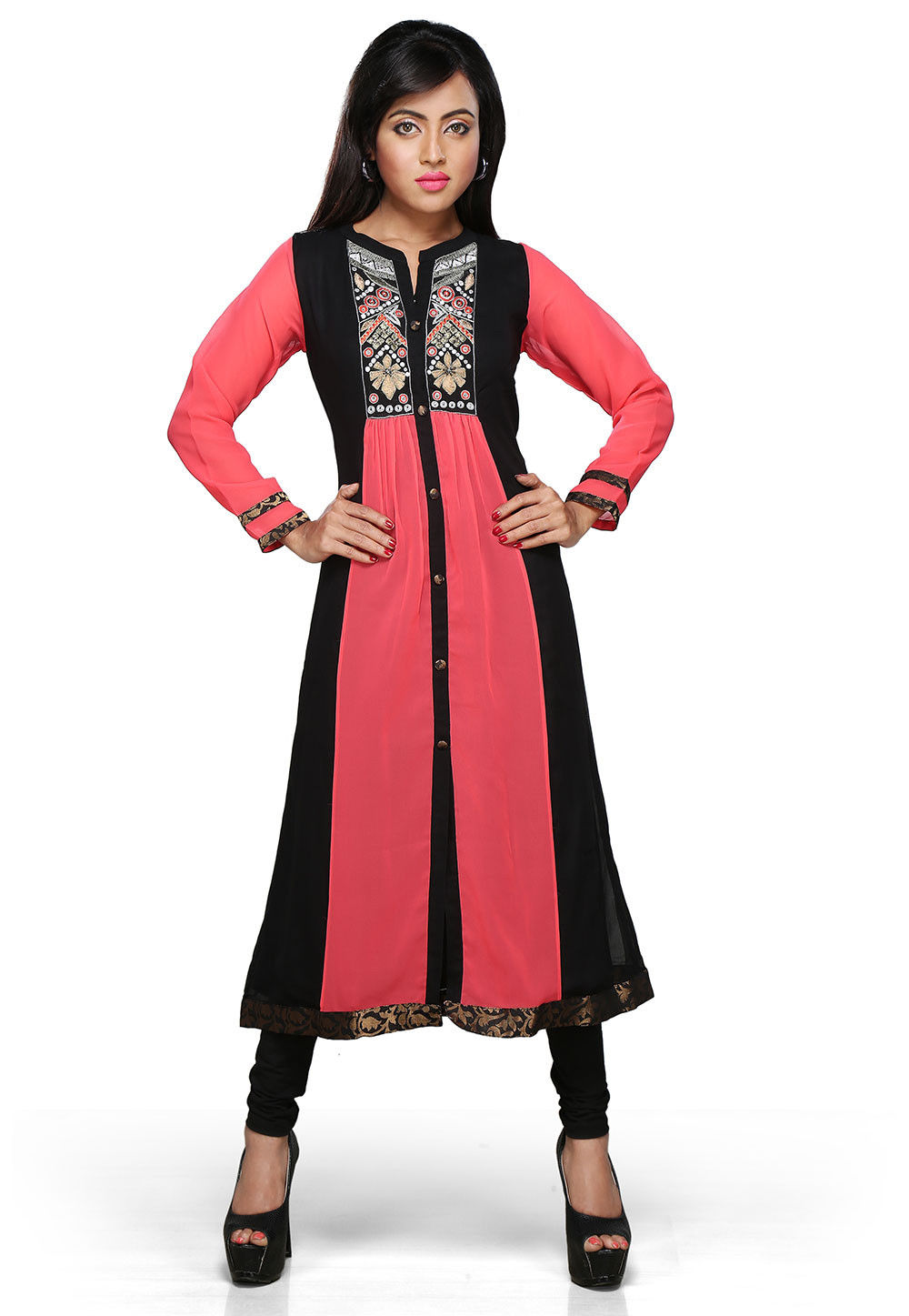 Embroidered Georgette Long Kurta In Black and Coral