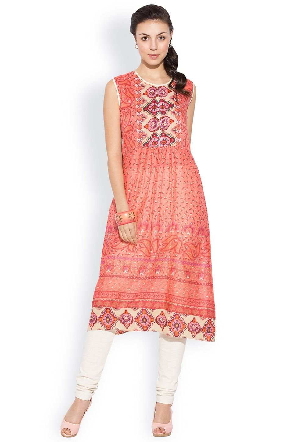 Printed Cotton Long Kurta In Peach