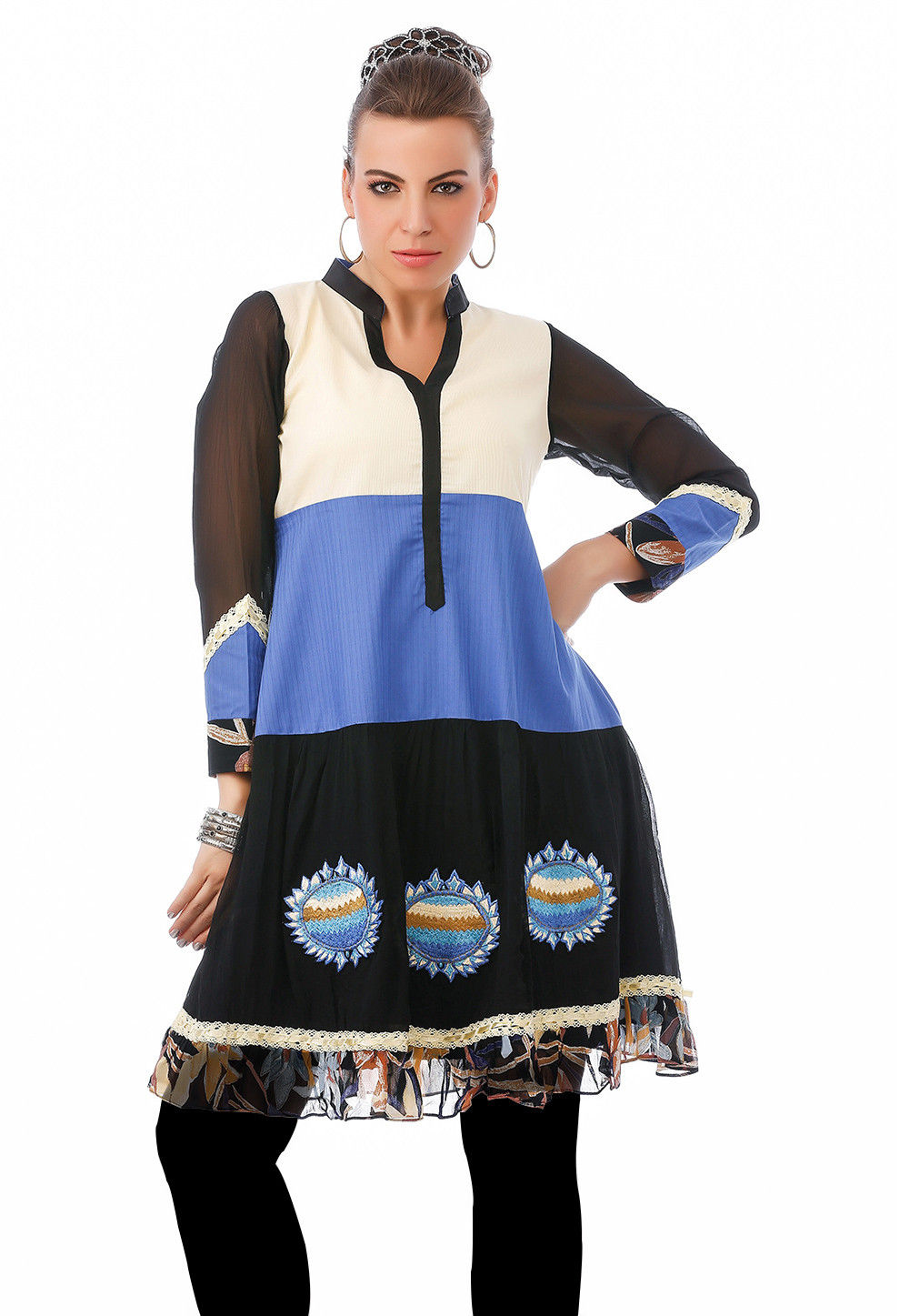 Embroidered Georgette Tunic In Black And White