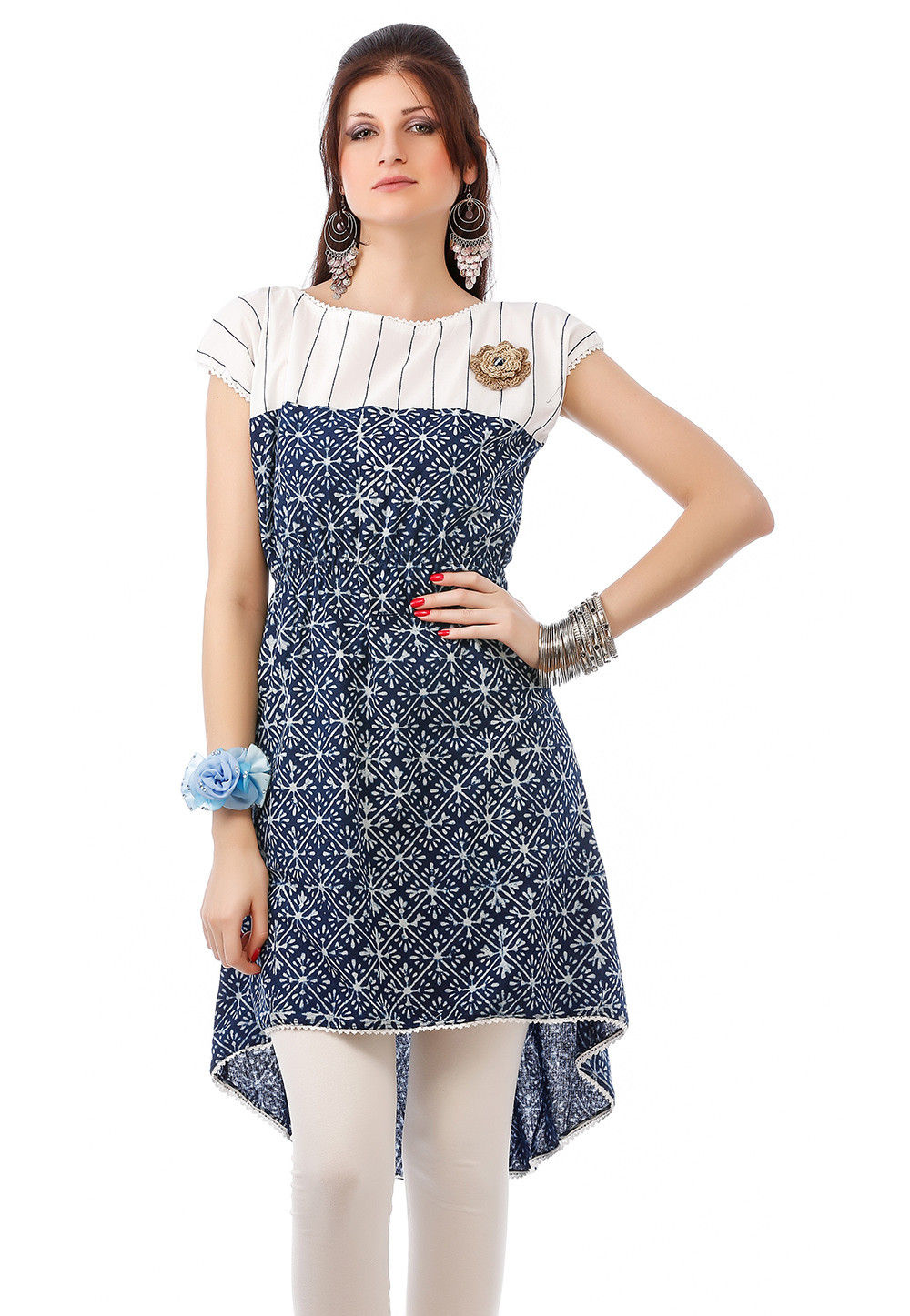 Block Printed Cotton Asymmetric Tunic In Navy Blue And White