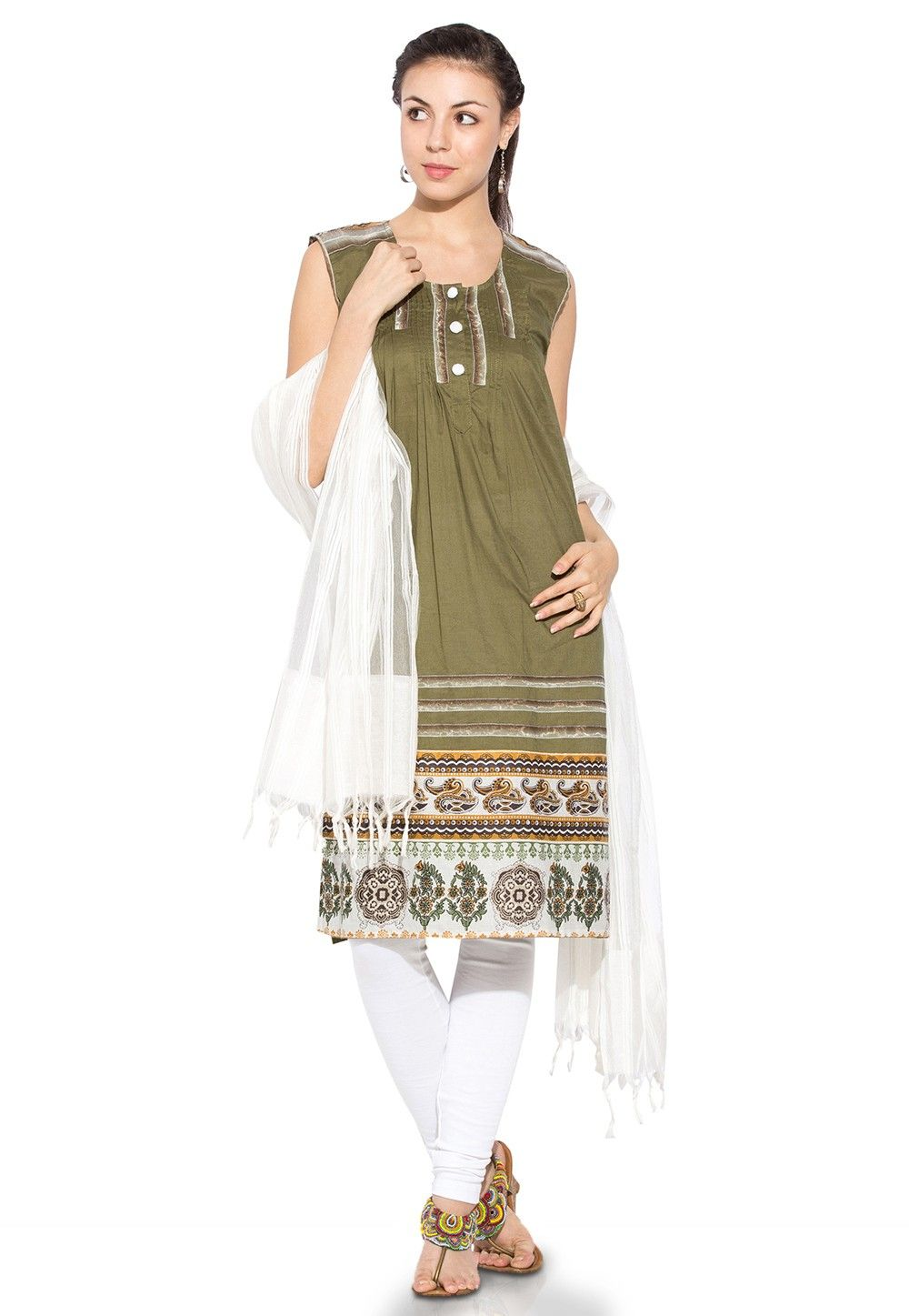 Printed Cotton Long Kurta in Olive Green
