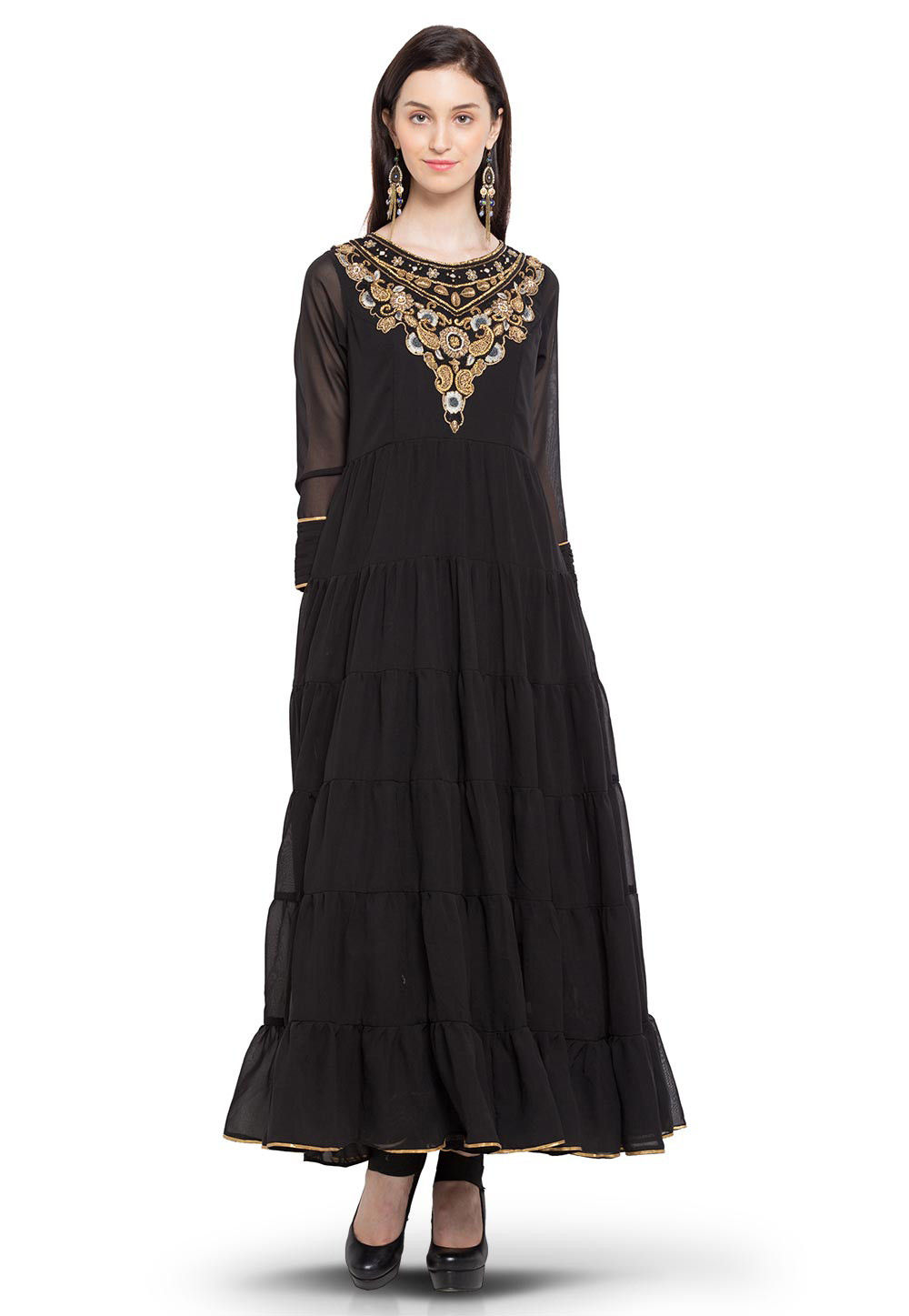 Hand Embroidered Georgette Long Kurta in Black