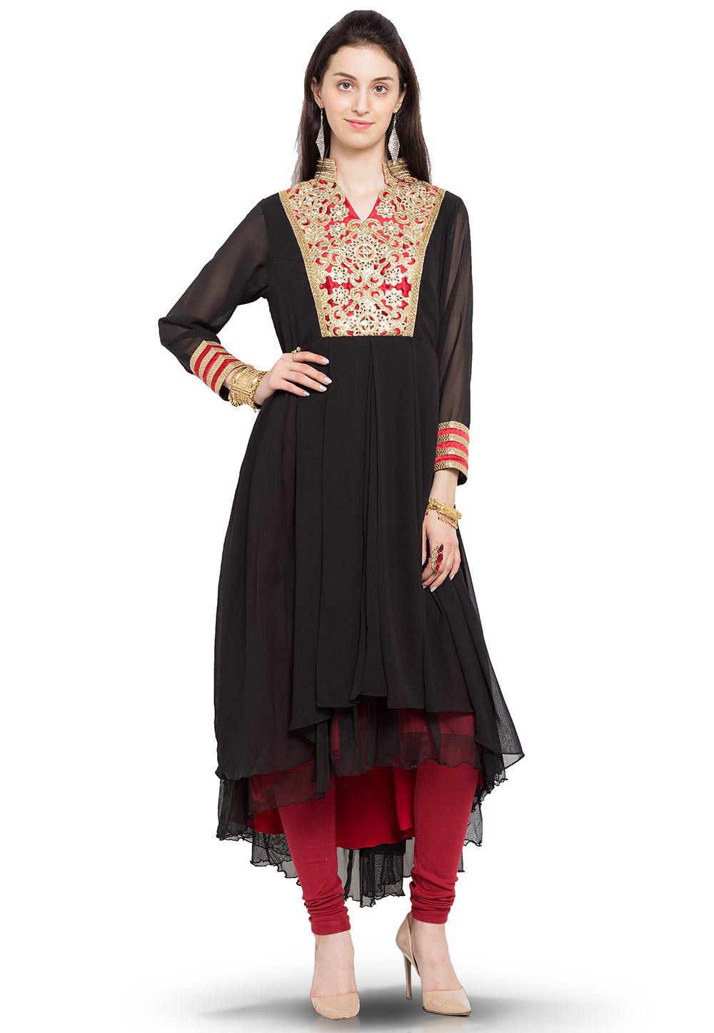 Embroidered Georgette Asymmetric Long Kurta in Black