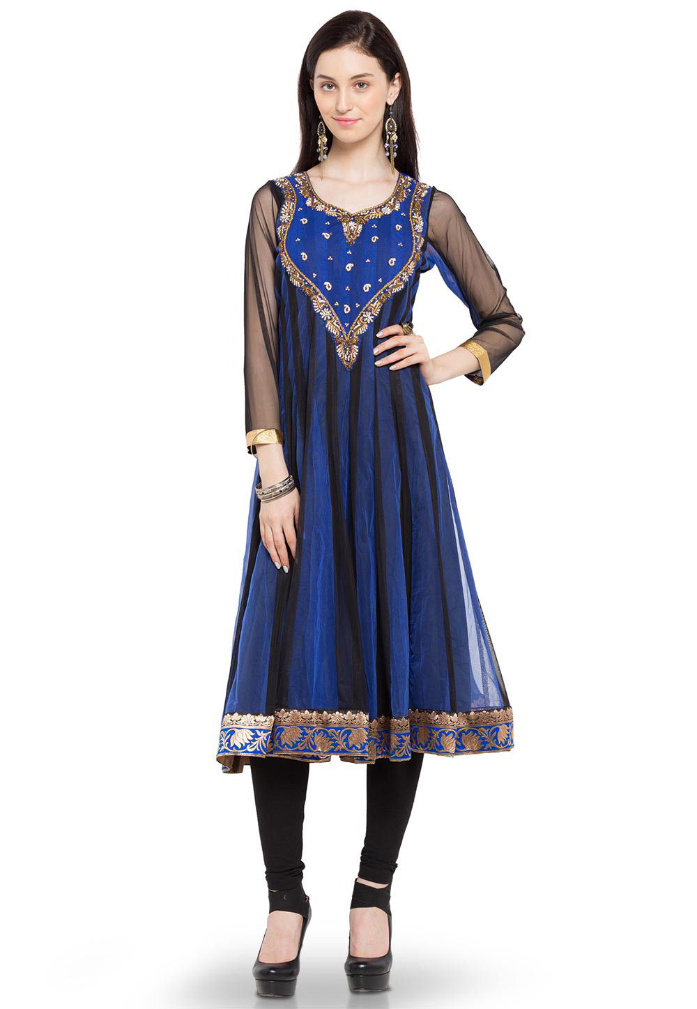Embroidered Net Anarkali Long Kurta in Blue and Black