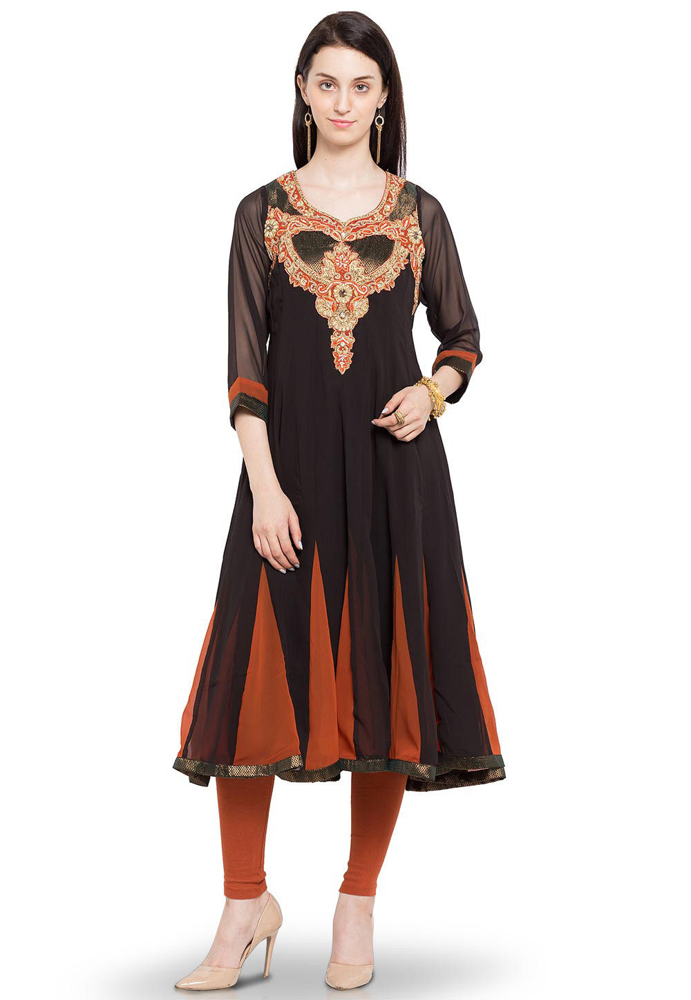 Embroidered Georgette Anarkali Long Kurta in Black and Rust