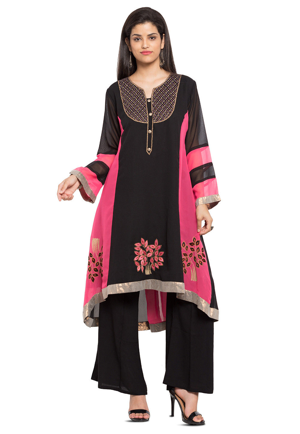 Embroidered Georgette Asymmetric Kurta in Black and Pink