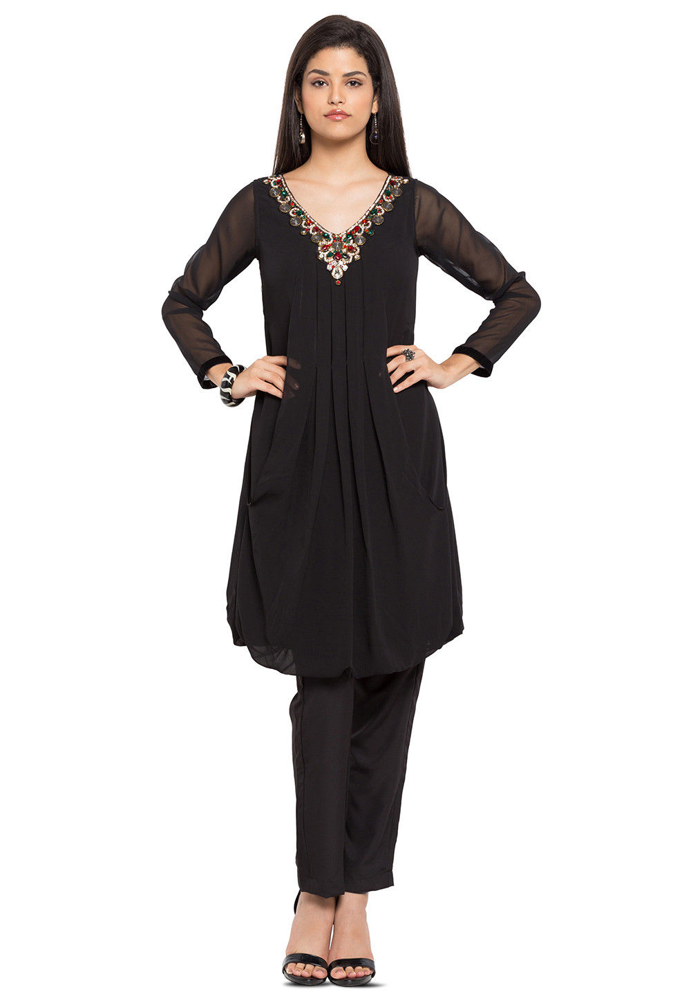 Embellished Georgette Pleated Tunic in Black