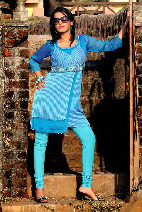 Embroidered Chiffon Tunic In Blue