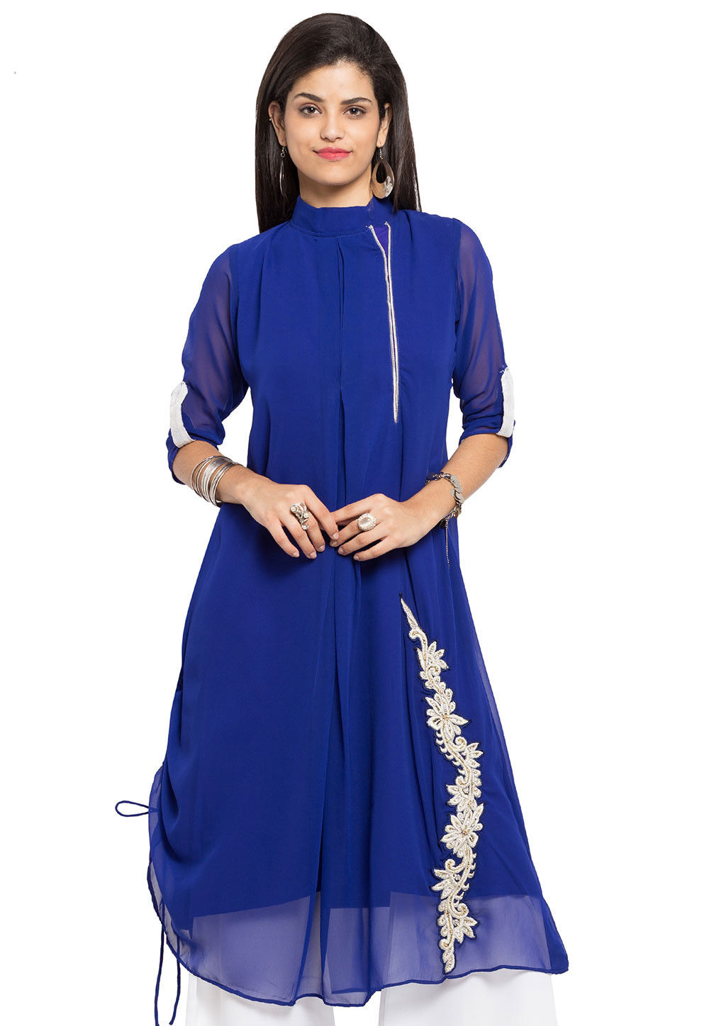 Plain Georgette Long Kurta in Royal Blue
