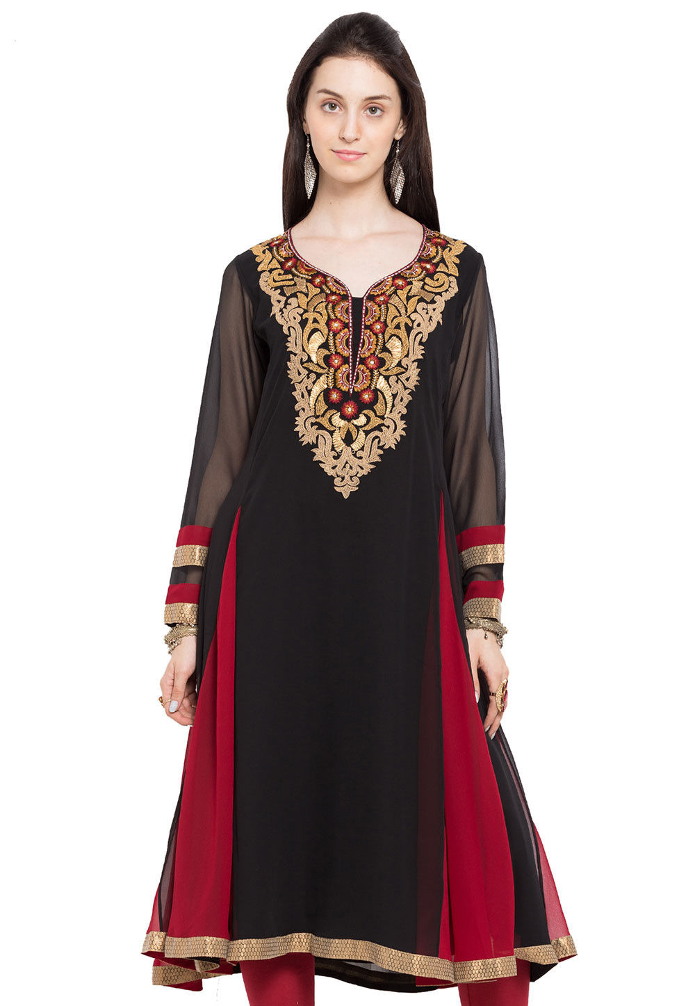 Embroidered Georgette Long Kurta in Black and Red