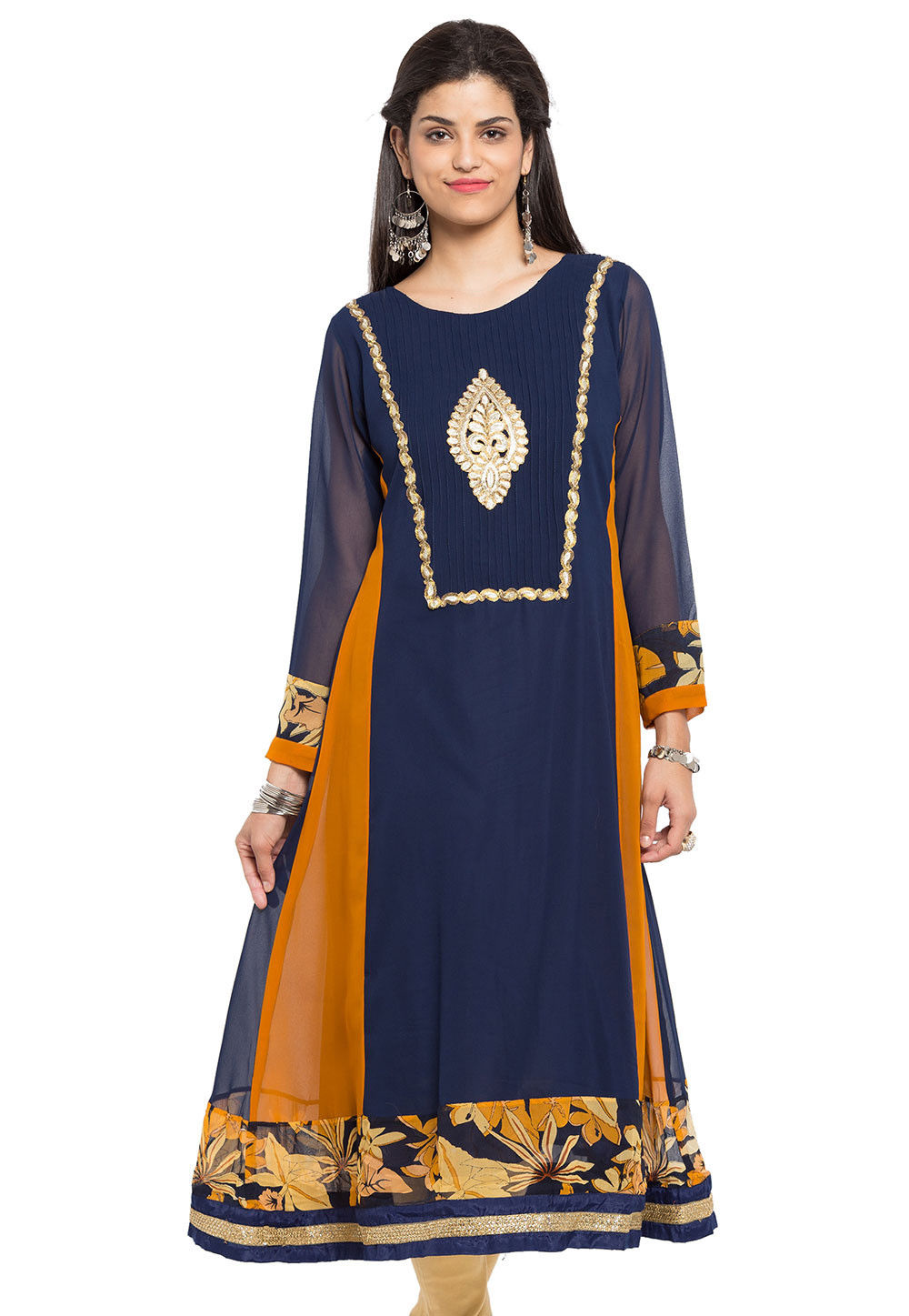 Plain Georgette Flared Long Kurta in Navy Blue and Mustard