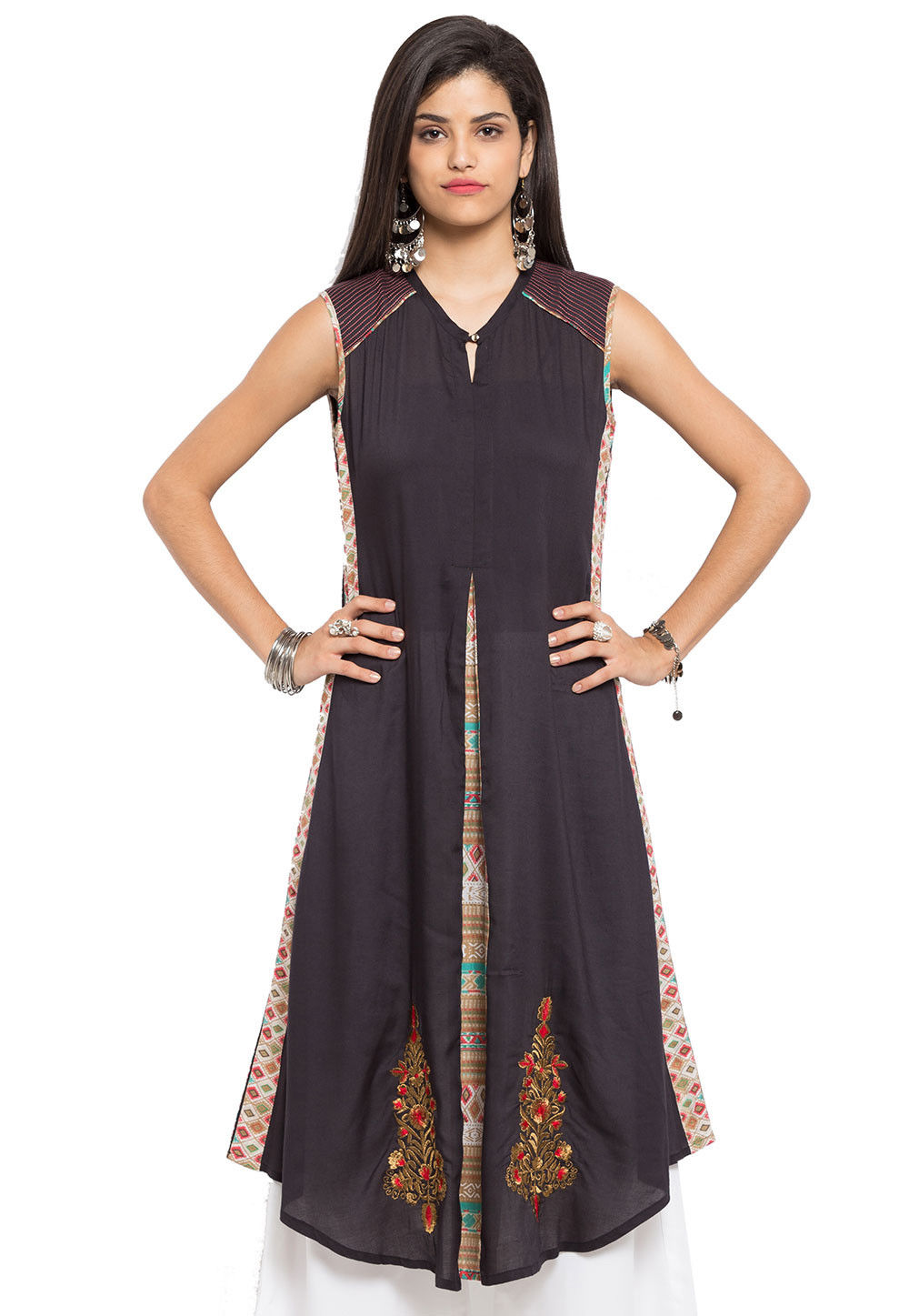 Embroidered Cotton Long Kurta in Black