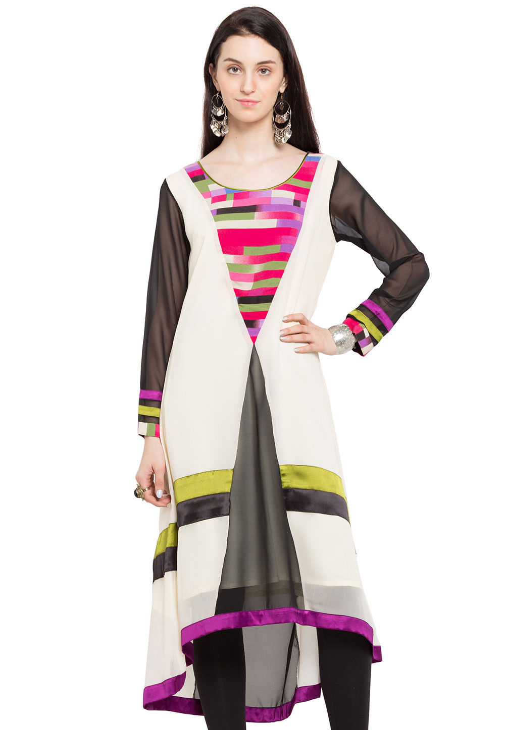 Plain Georgette Asymmetric Long Kurta in White and Black