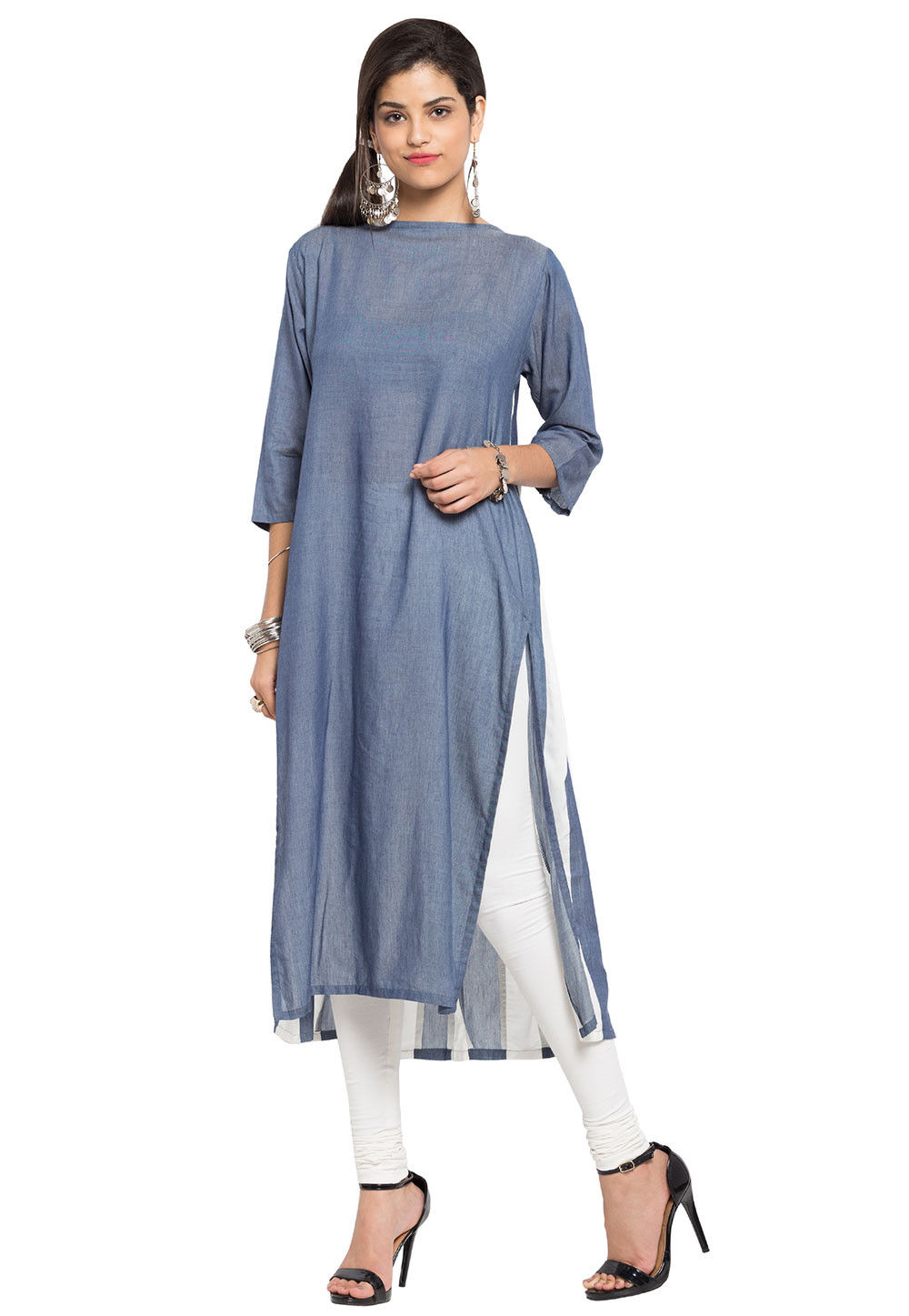 Plain Cotton Long Kurta in Grey