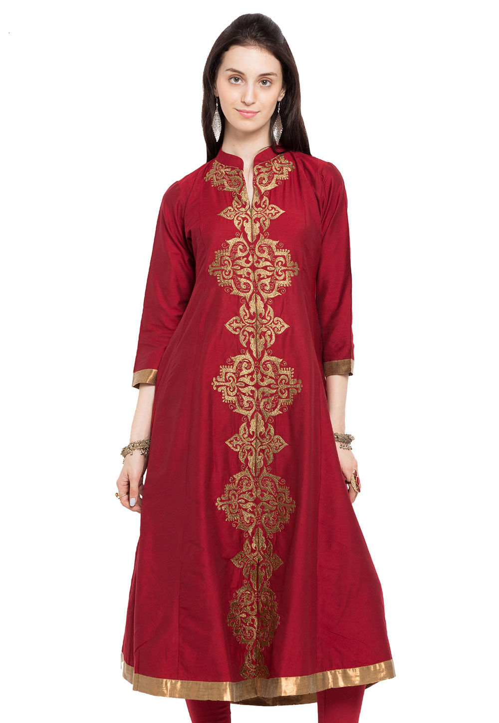 Embroidered Cotton Silk Flared Long Kurta in Maroon
