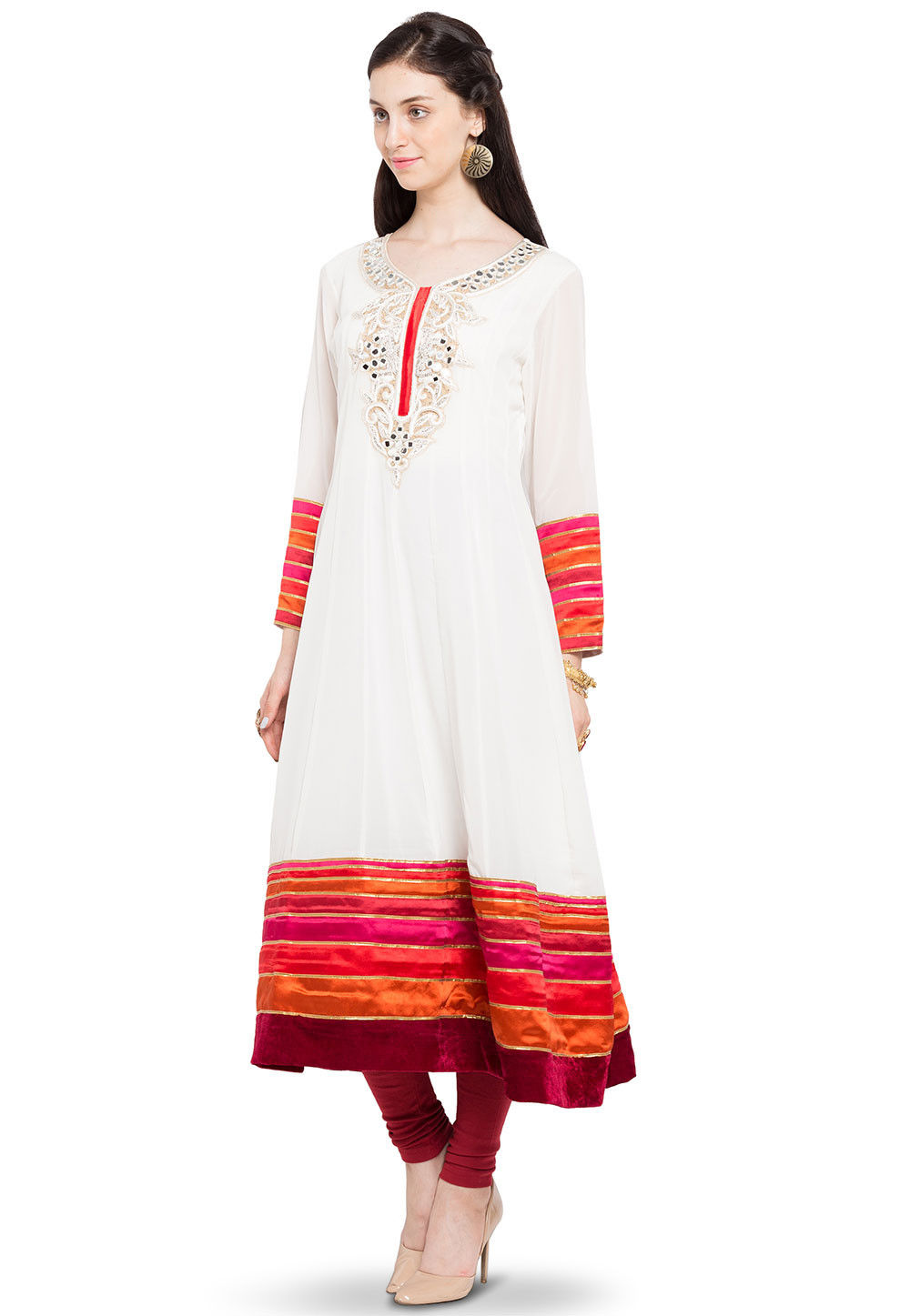 Embroidered Georgette Anarkali Kurta in Off White