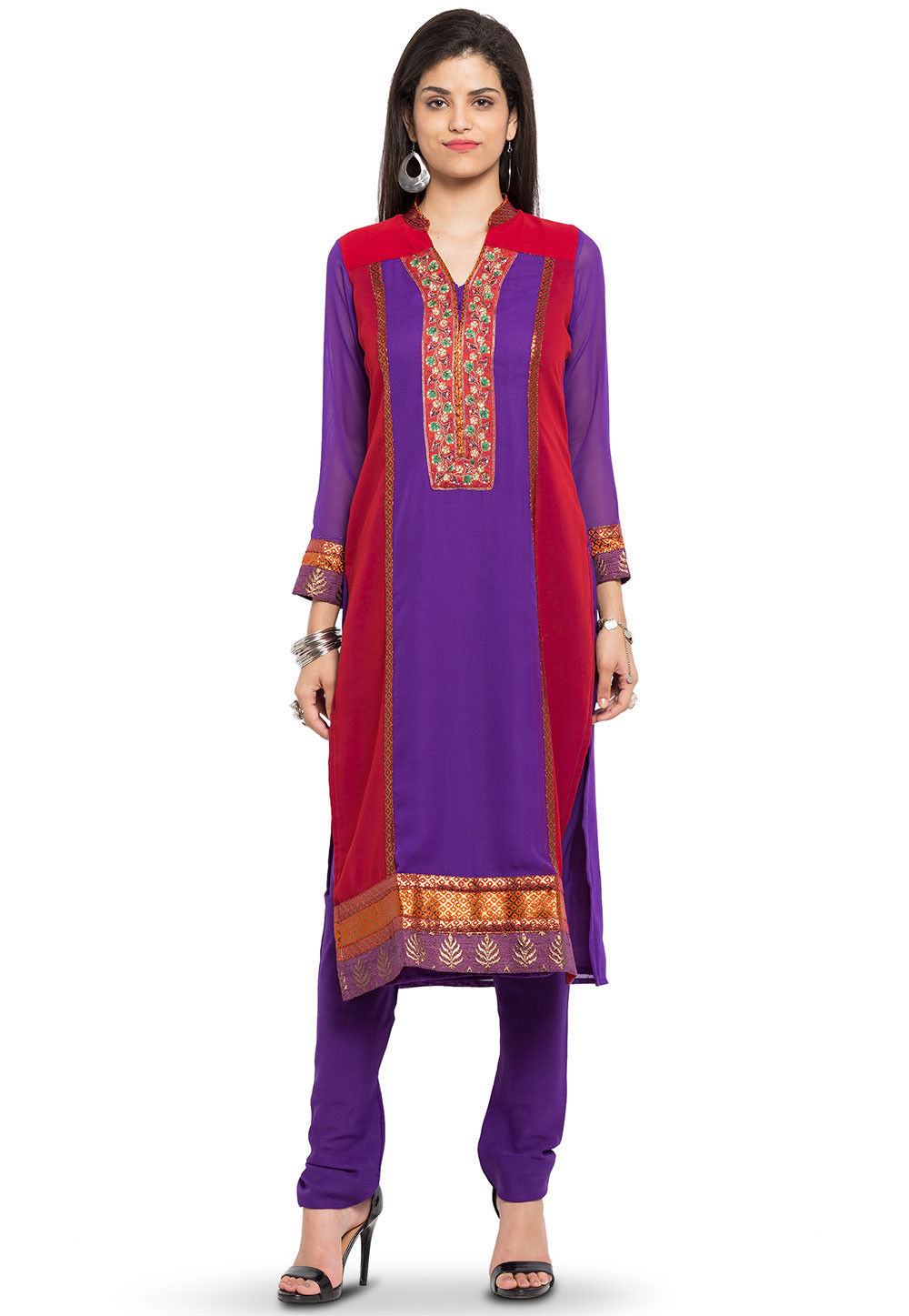 Embroidered Georgette Kurta in Purple and Red