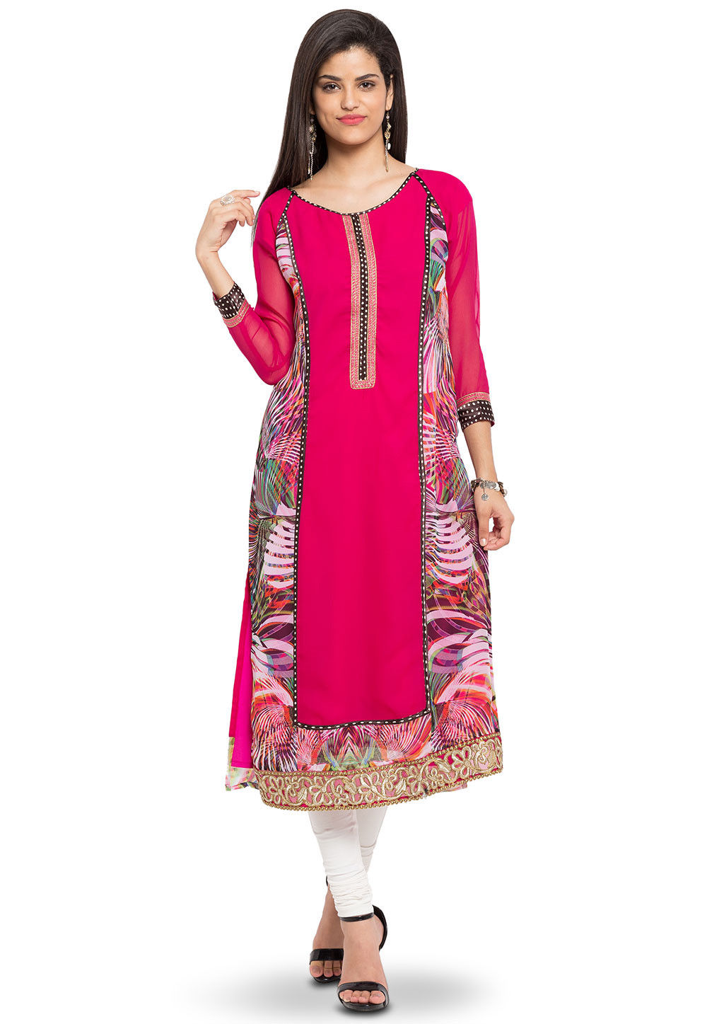 Printed Georgette Long Kurta in Fuchsia