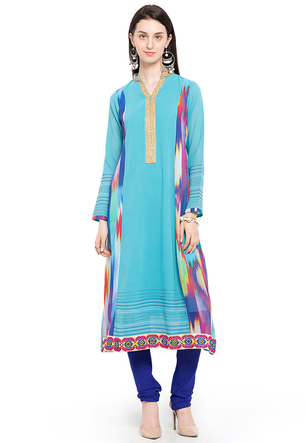 Printed Side Panel Georgette Kurta in Sky Blue