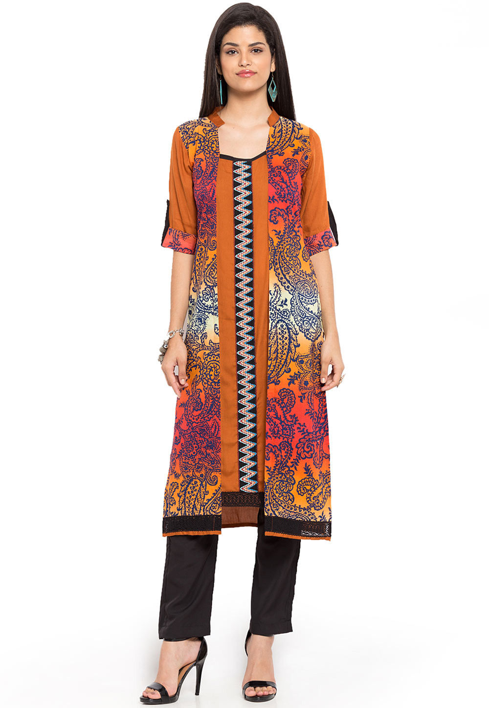 Printed Cotton Jacket Style Kurta in Rust and Multicolor