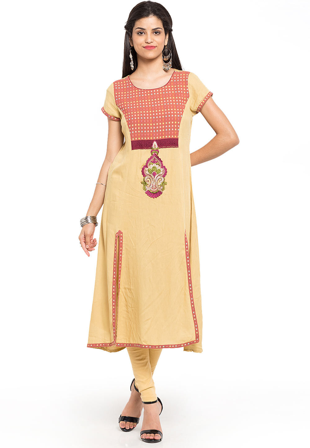 Woven Cotton Long Kurta in Beige