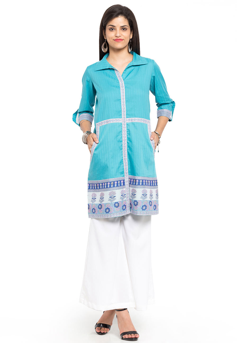 Front Slit Cotton Shirt Style Kurti in Sky Blue
