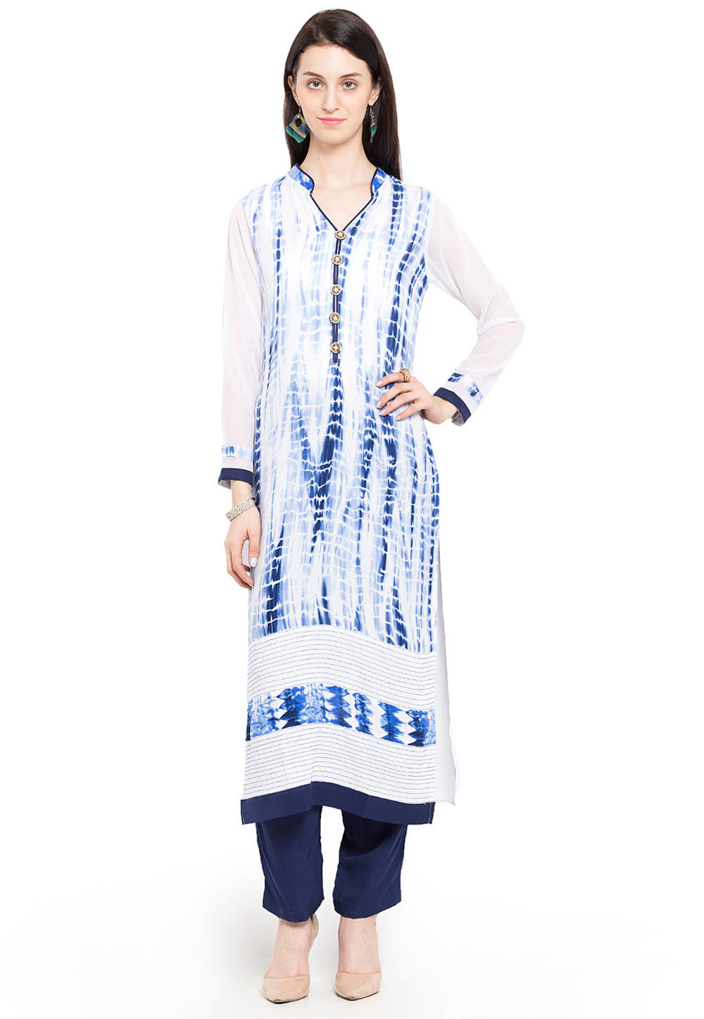 Printed Cotton Rayon Long Kurta in Off White and Blue