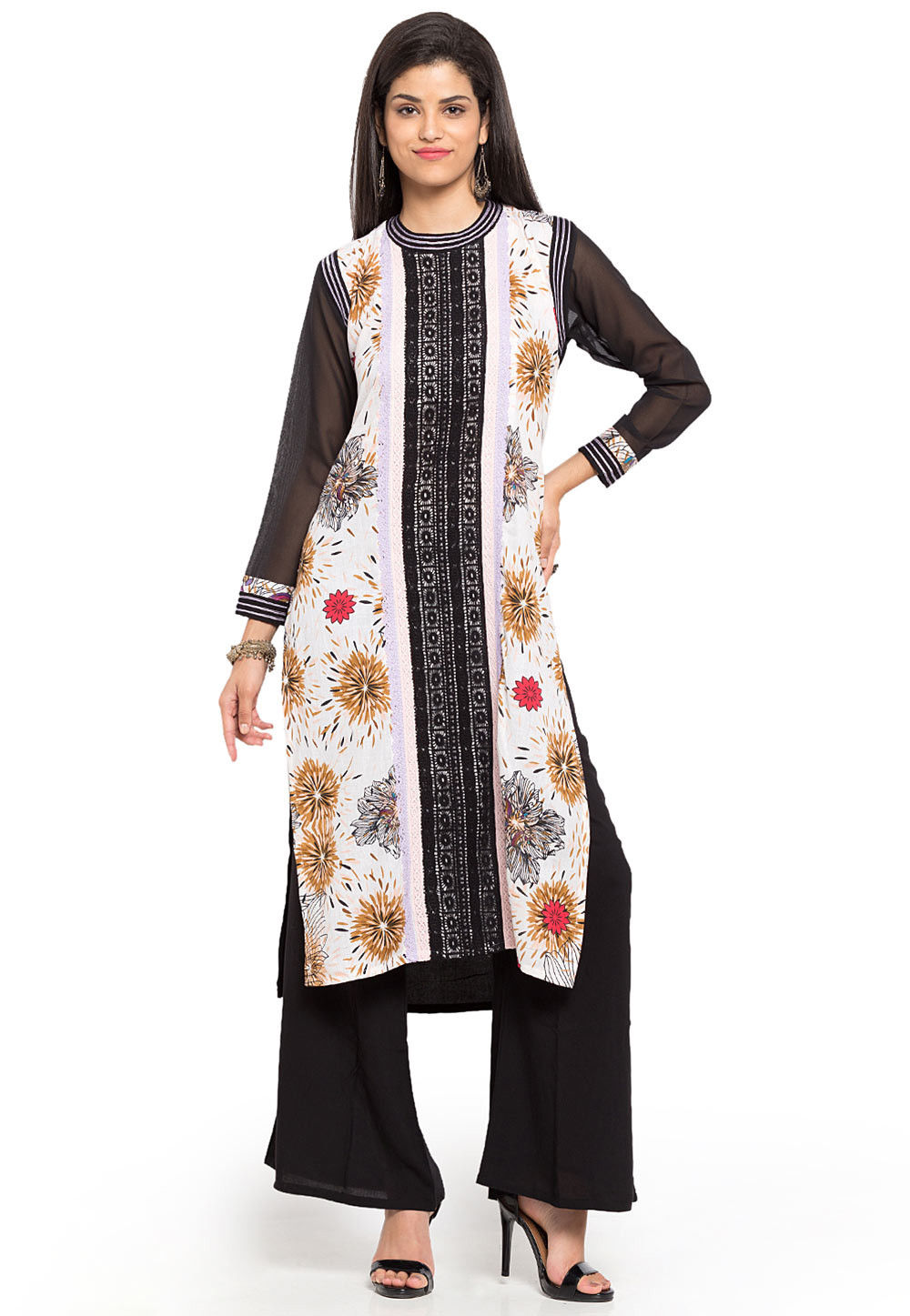Printed Cotton Long Kurta in Off White and Black
