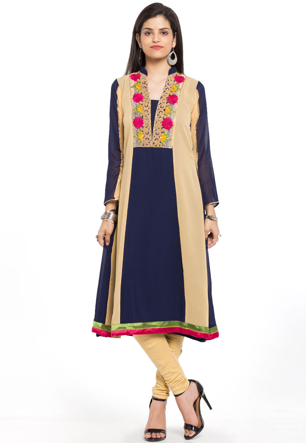 Embroidered Georgette A Line Kurta in Navy Blue