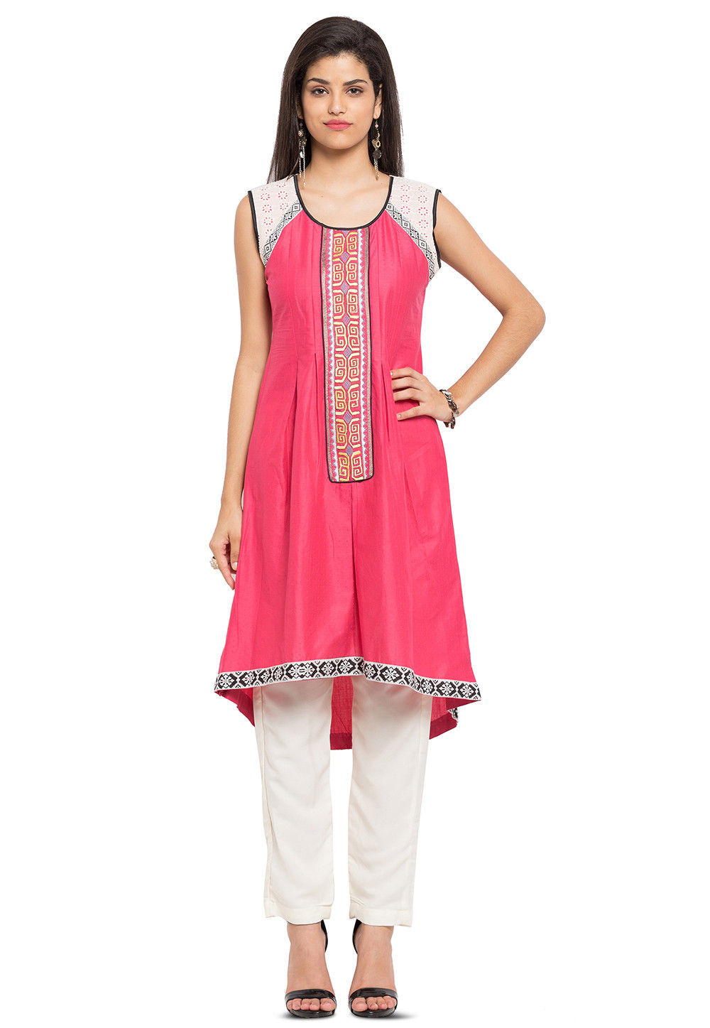 Embroidered Cotton Jacquard Hi Low Long Kurta in Coral
