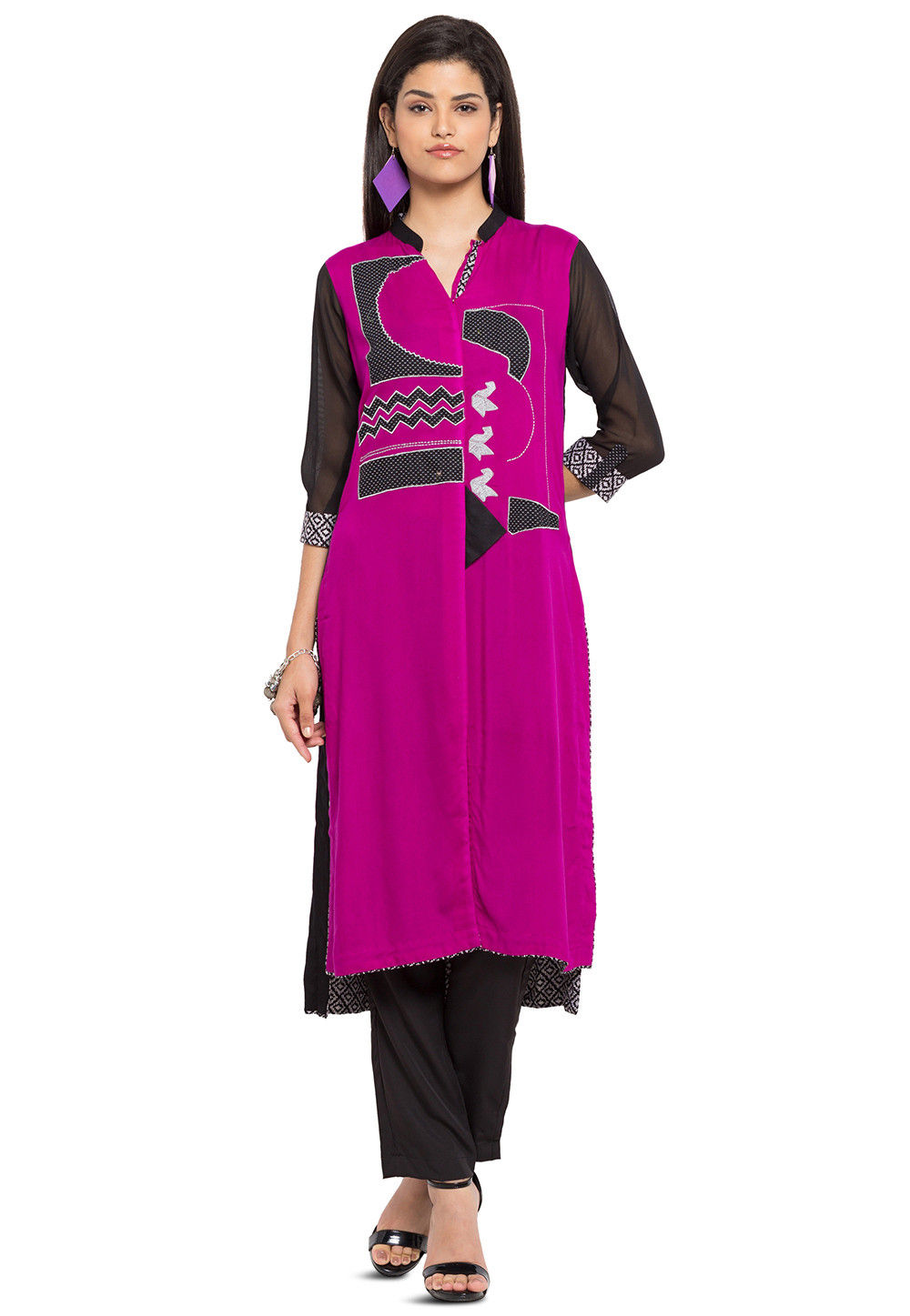 Embroidered Georgette Long Kurta in Magenta and Black